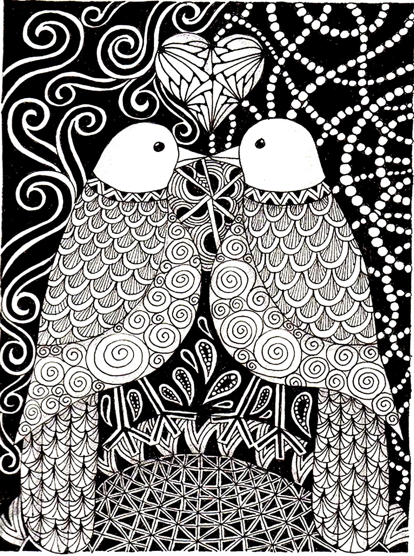 Disegni da colorare per adulti : Uccelli - 14