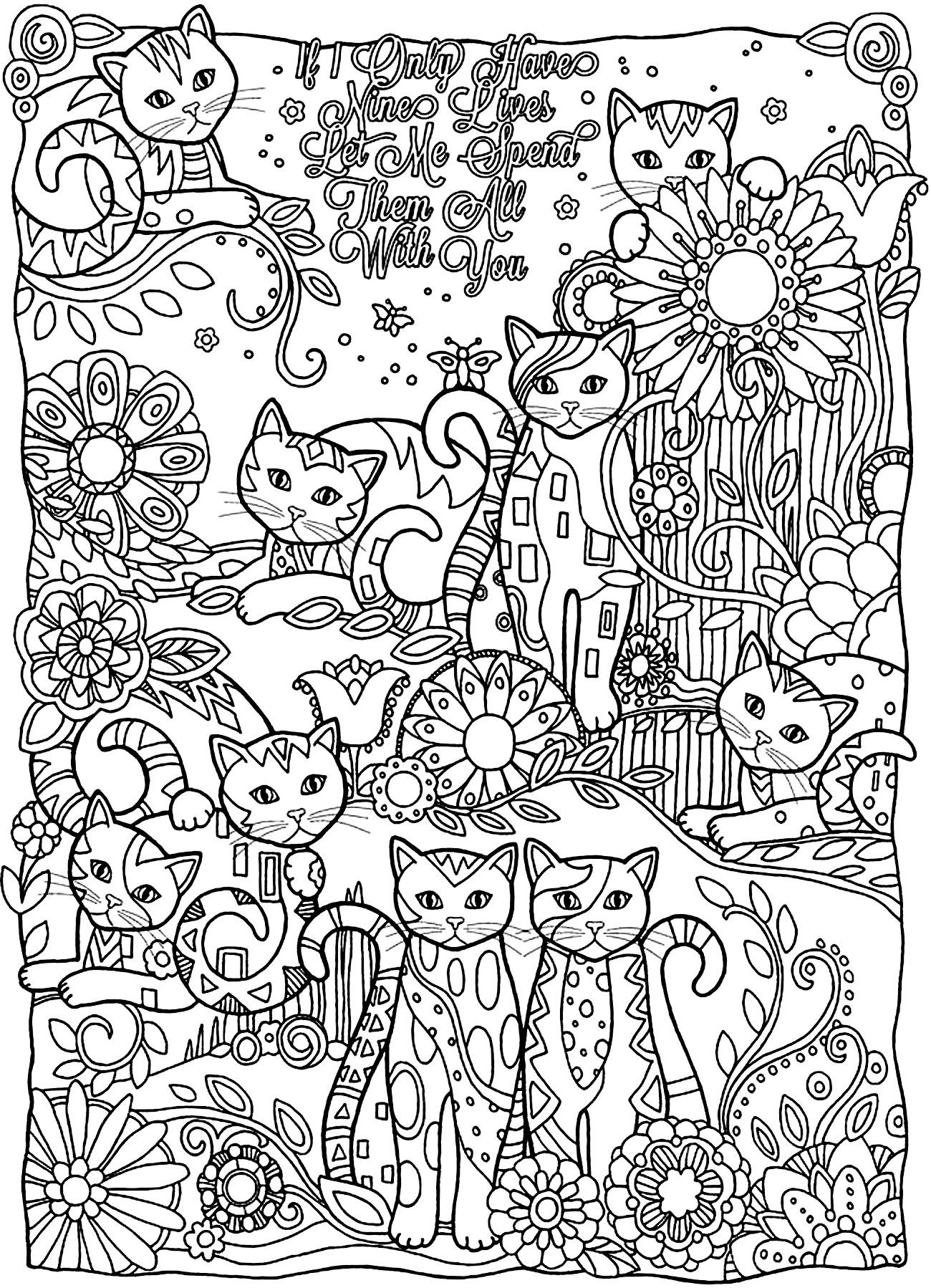 Disegni da colorare per adulti : Gatti - 9