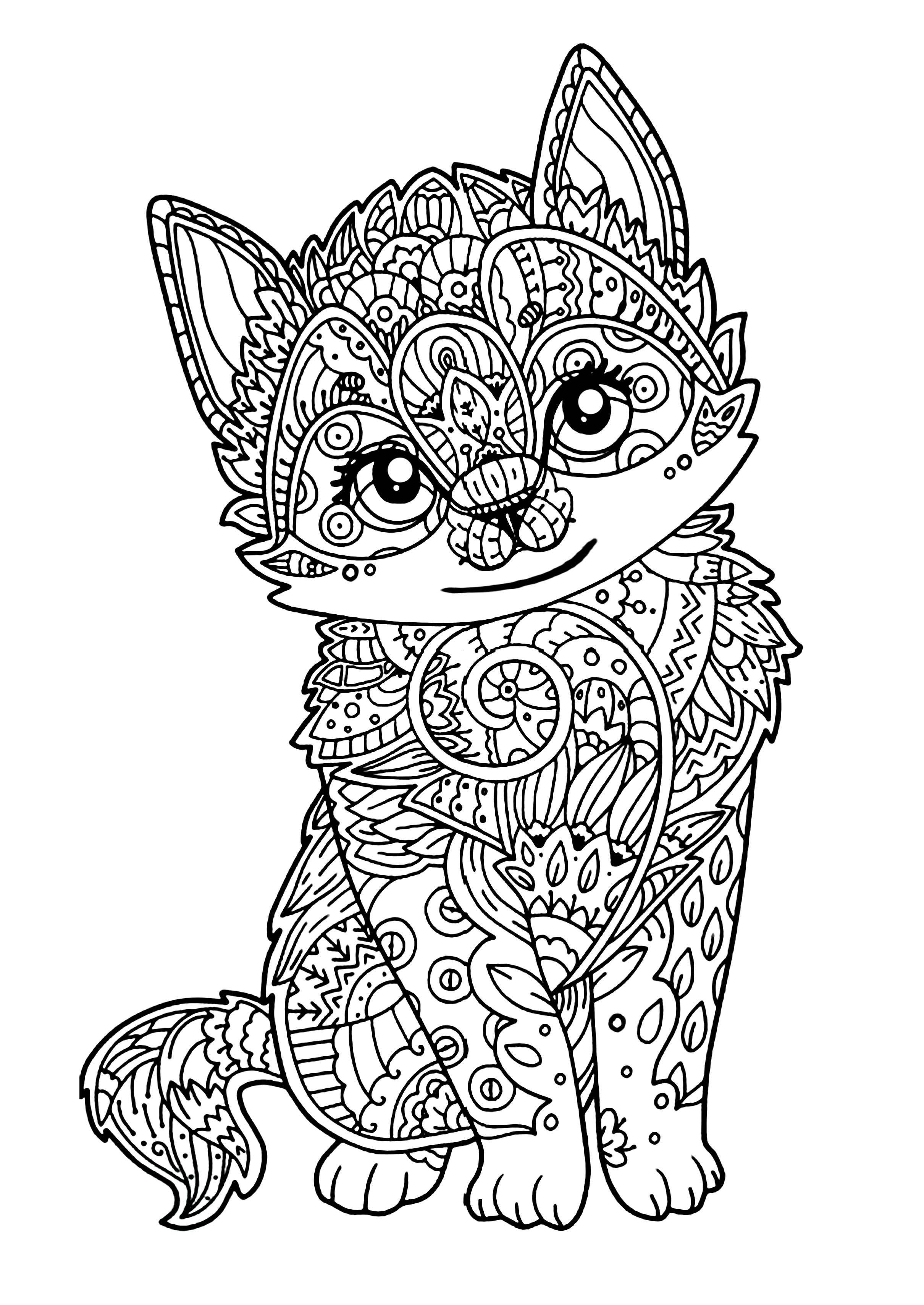 Disegni da colorare per adulti : Gatti - 12