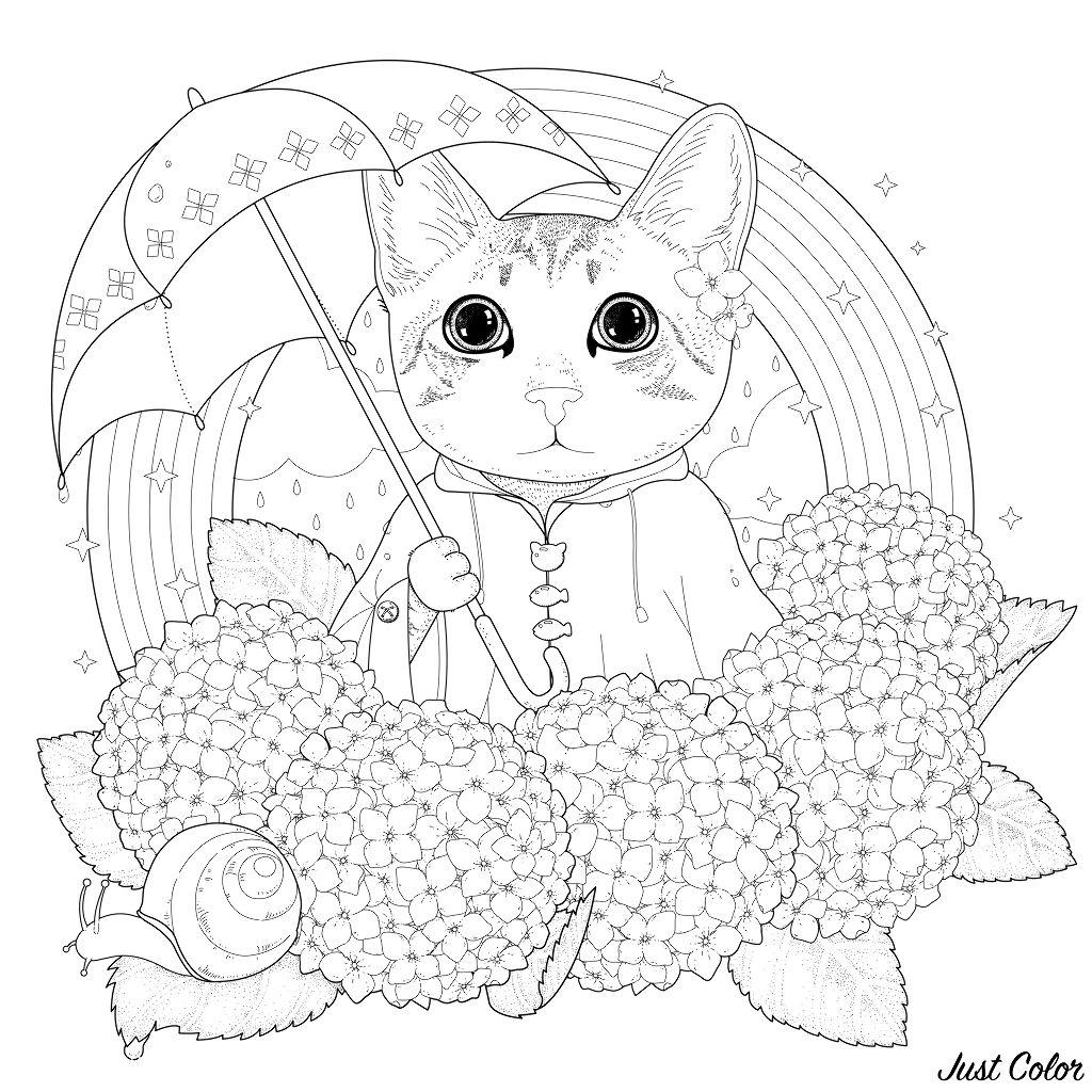 Disegni da colorare per adulti : Gatti - 14