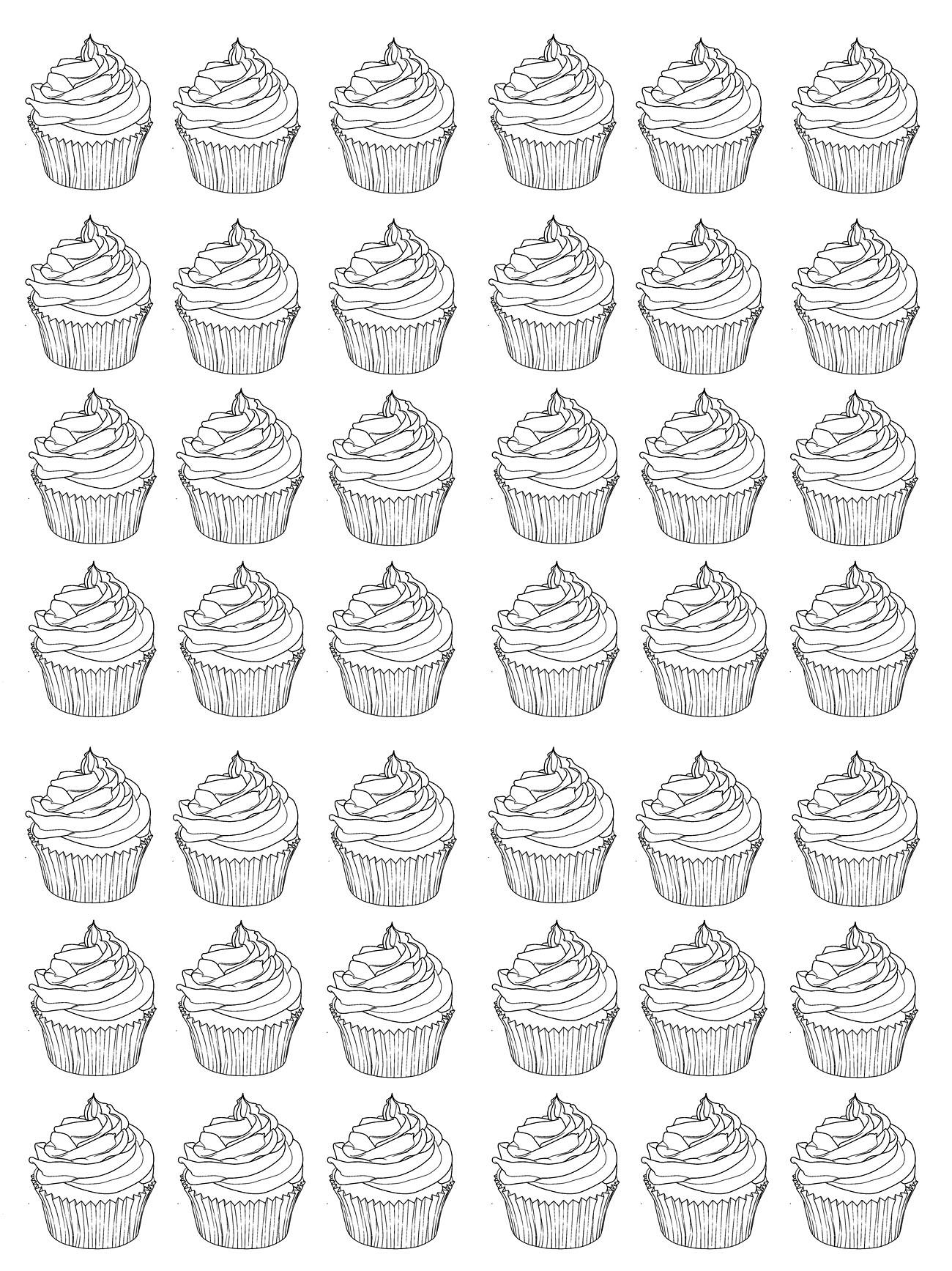 Disegni da colorare per adulti : Cup Cakes - 5