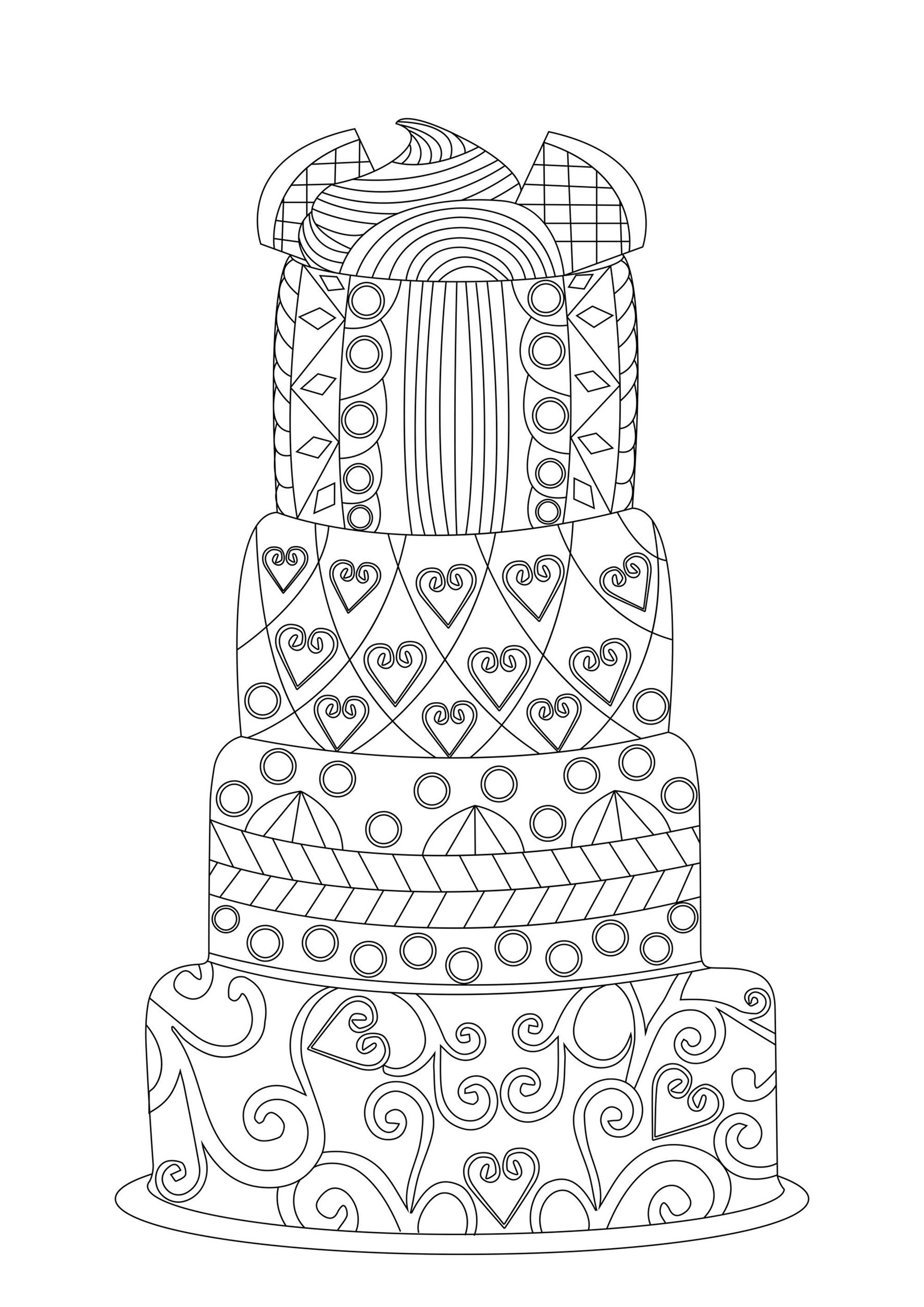 Disegni da Colorare per Adulti : Cup Cakes - 2