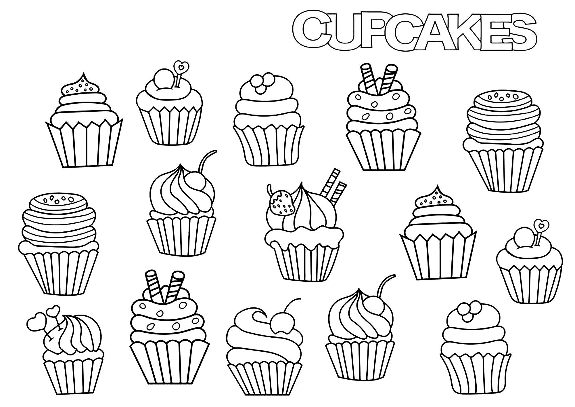 Disegni da Colorare per Adulti : Cup Cakes - 10