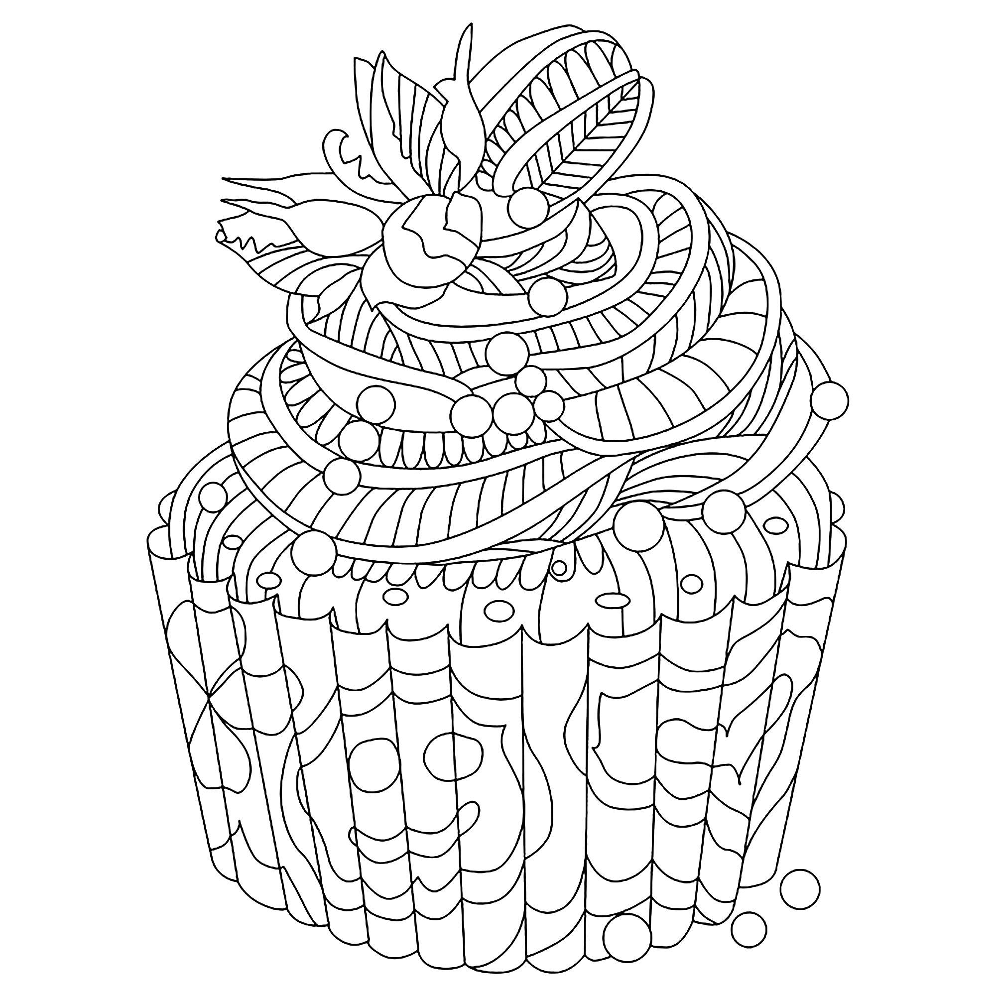 Disegni da Colorare per Adulti : Cup Cakes - 8