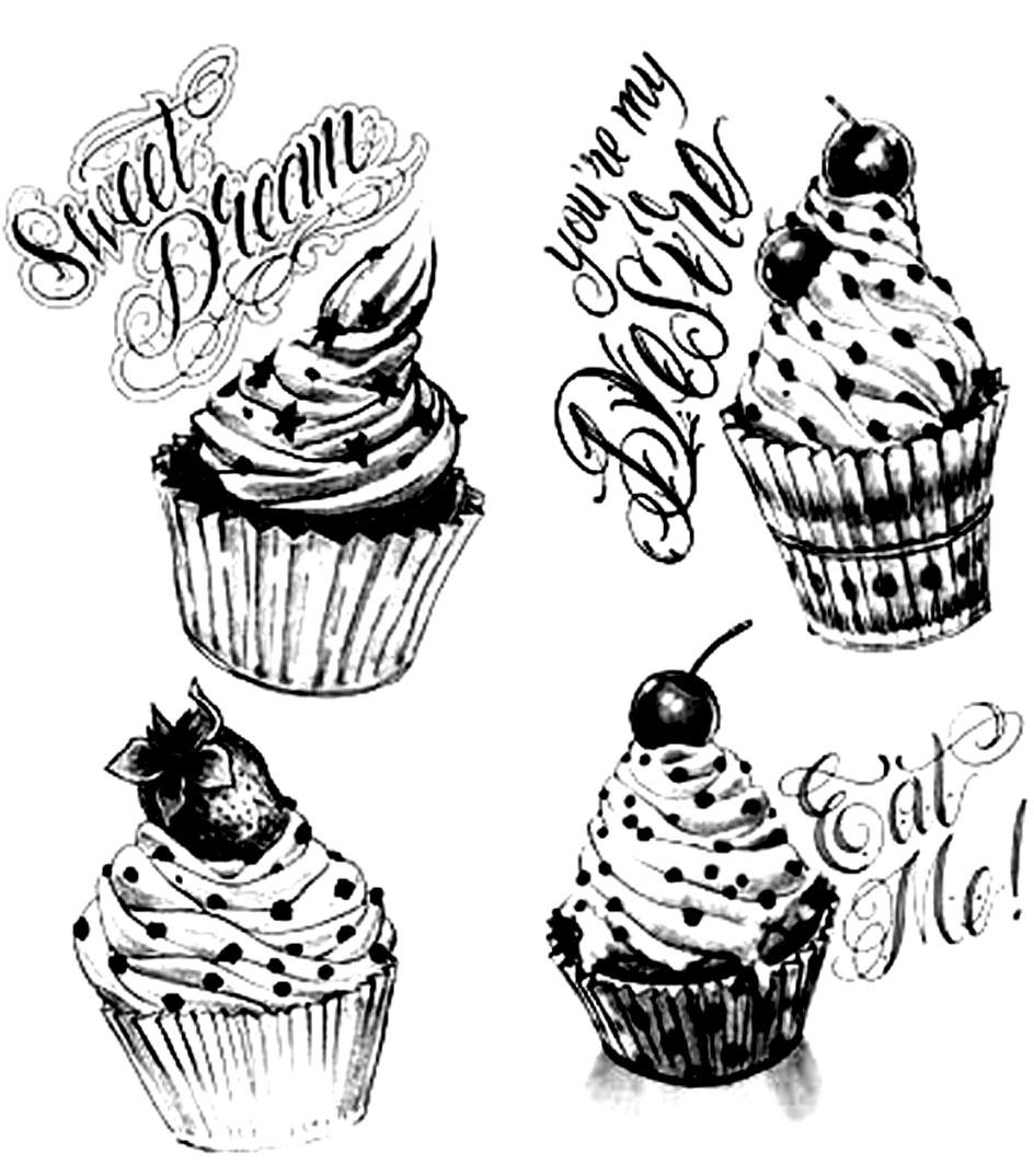 Disegni da colorare per adulti : Cup Cakes - 3
