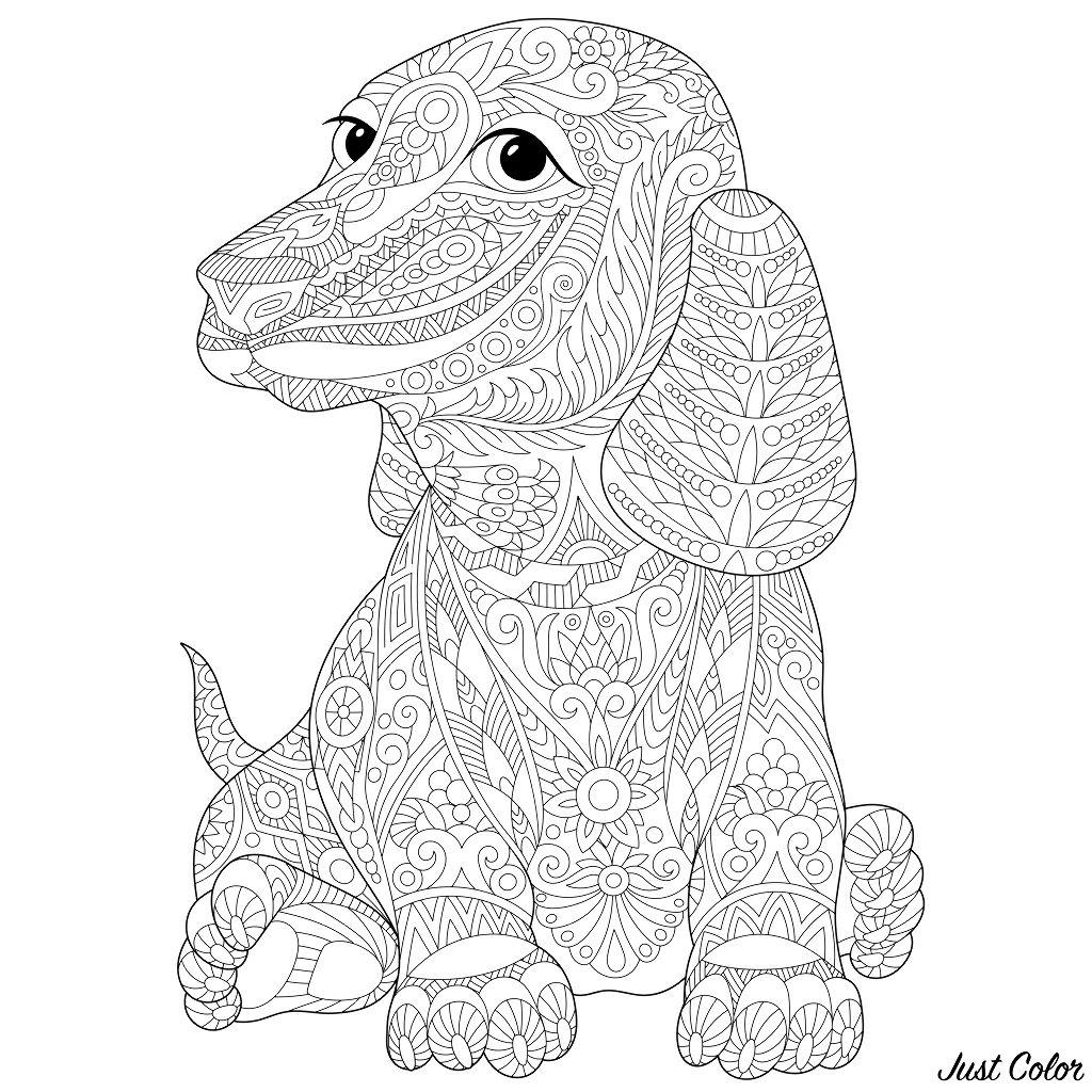 Cani Da Colorare Stampare.Cani 87499 Cani Disegni Da Colorare Per Adulti