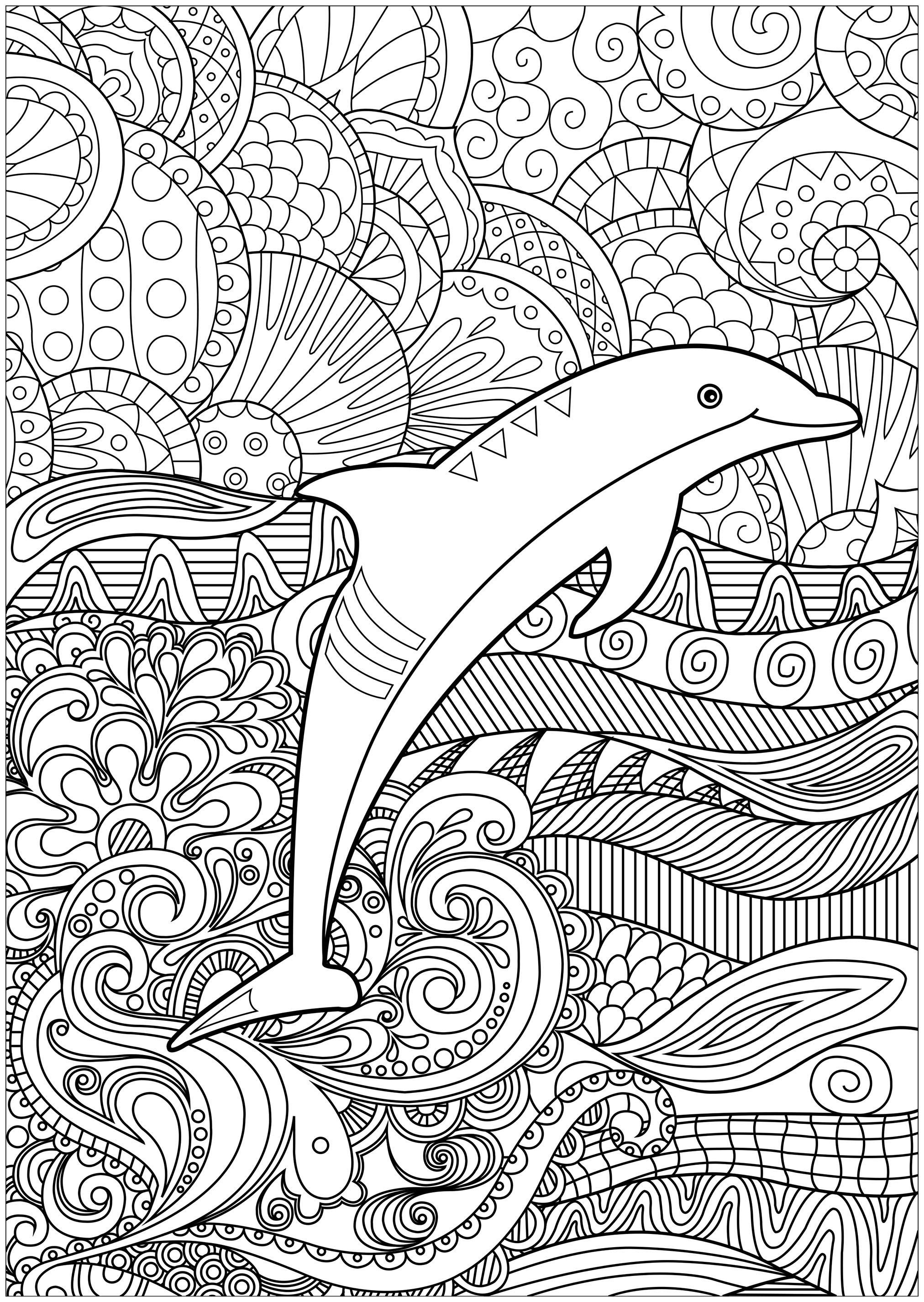 Disegni da Colorare per Adulti : Delfini - 1