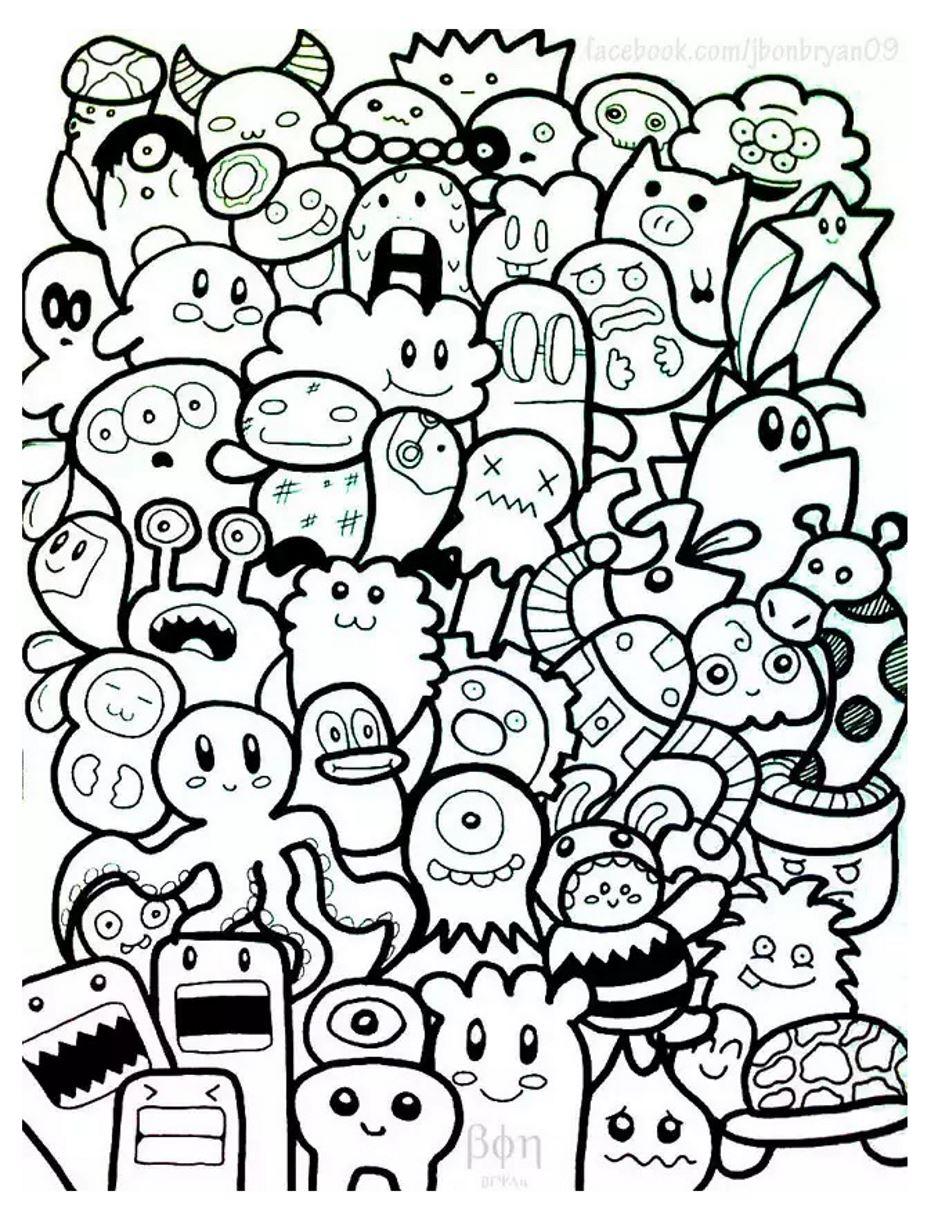 Disegni da colorare per adulti : Doodle art / Doodling - 4