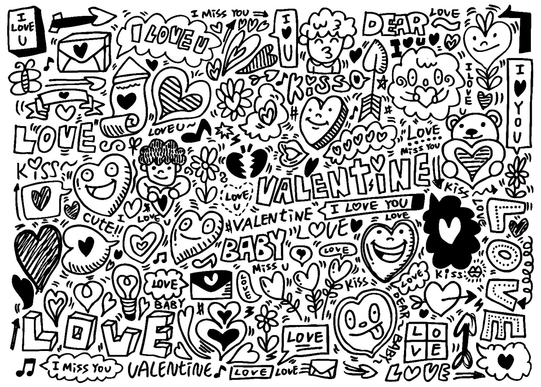Doodle art doodling disegni da colorare per adulti - Pagine da colorare pesci per adulti ...