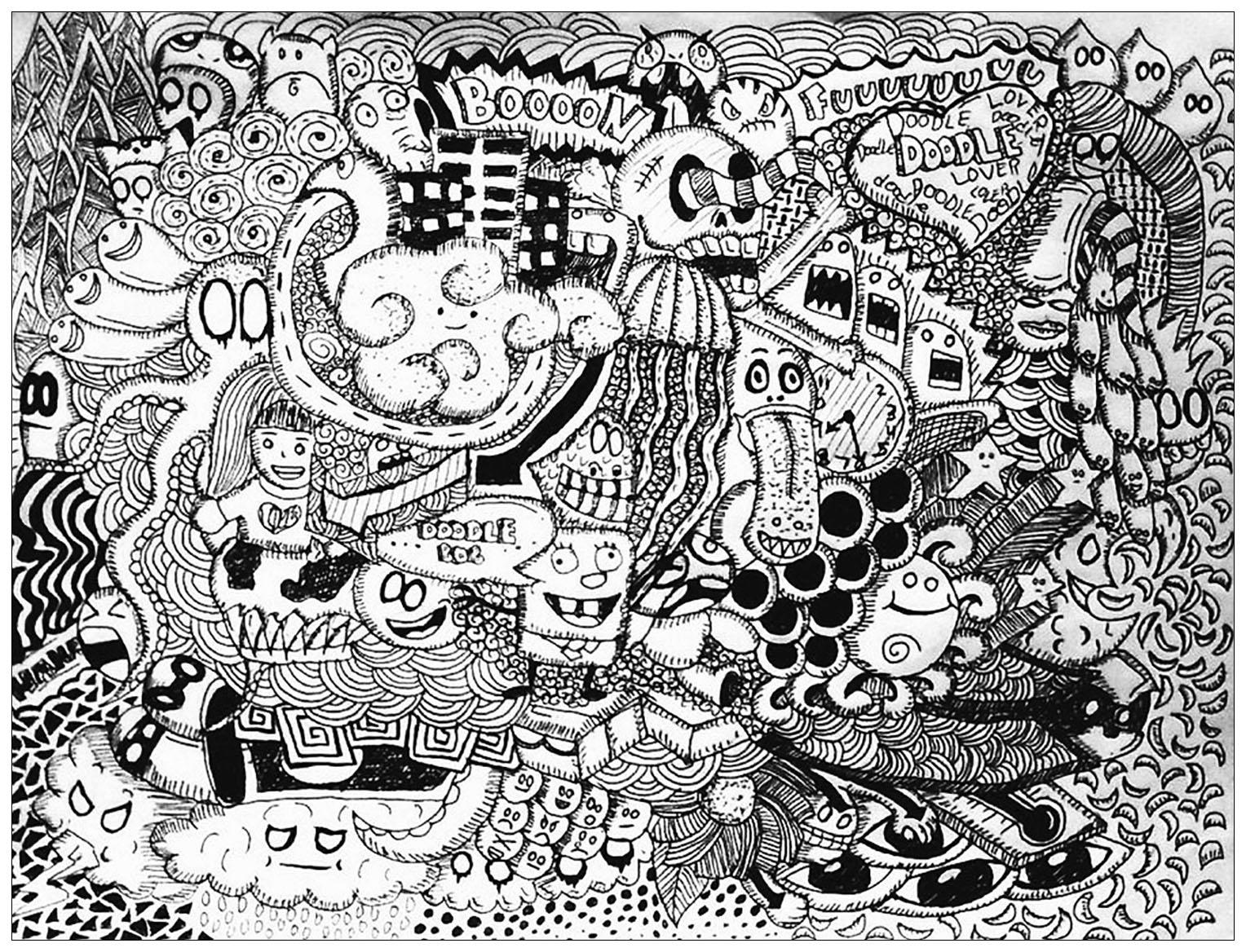 Disegni da colorare per adulti : Doodle art / Doodling - 26