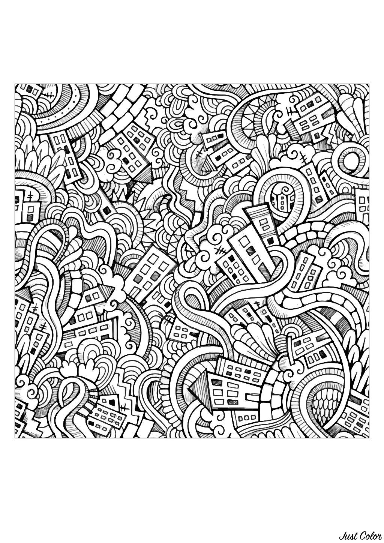 Disegni da colorare per adulti : Doodle art / Doodling - 19