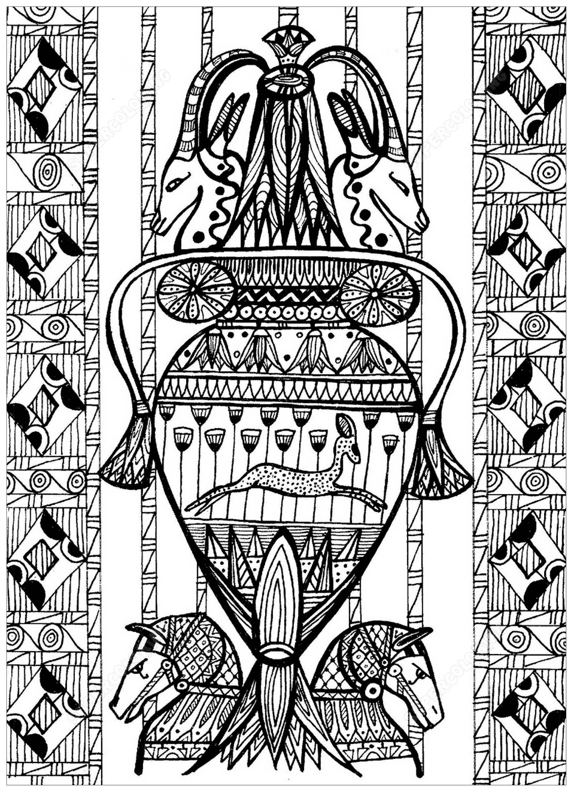 Disegni da colorare per adulti : Egitto & Geroglifici - 15