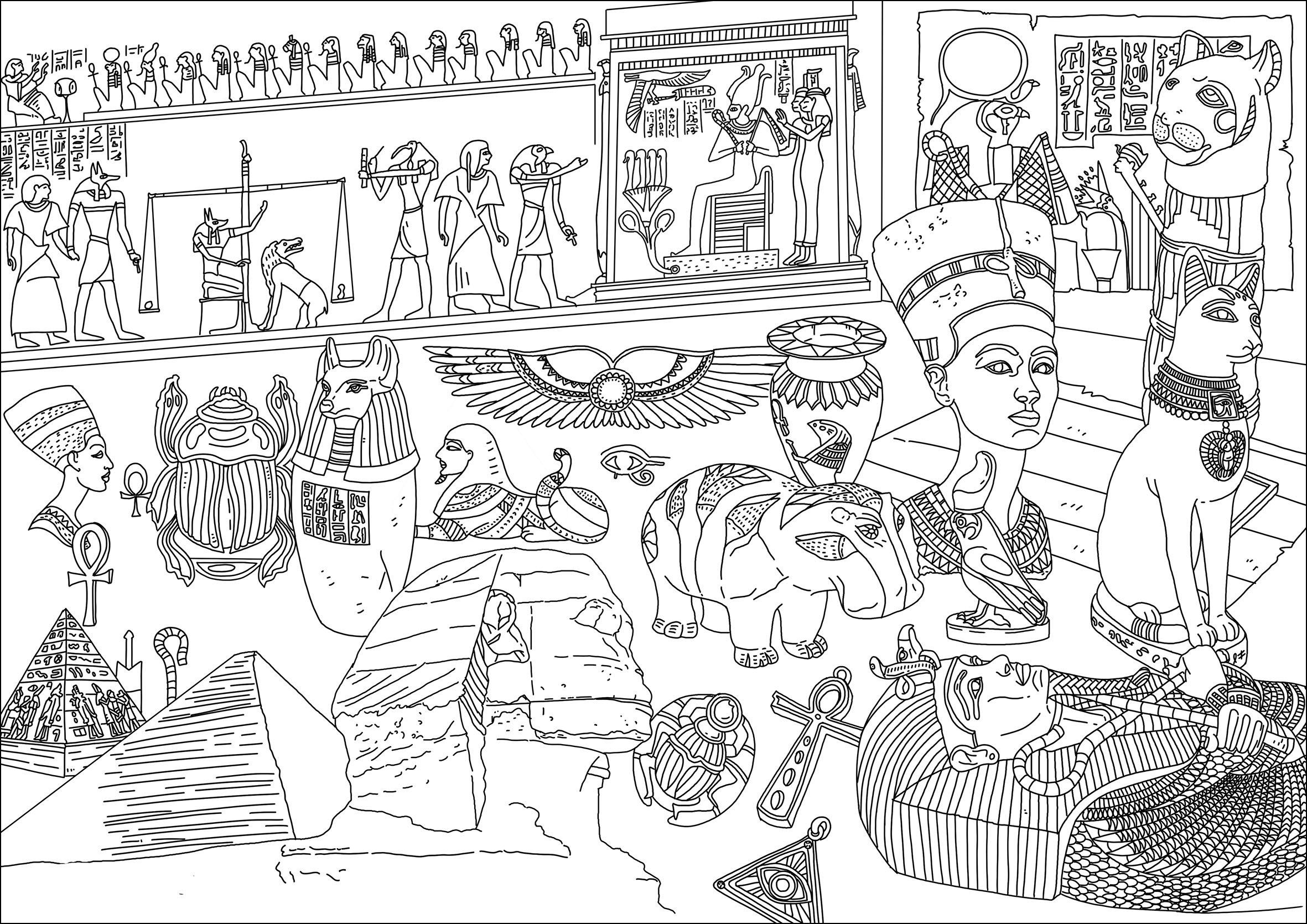 Disegni da Colorare per Adulti : Egitto & Geroglifici - 1