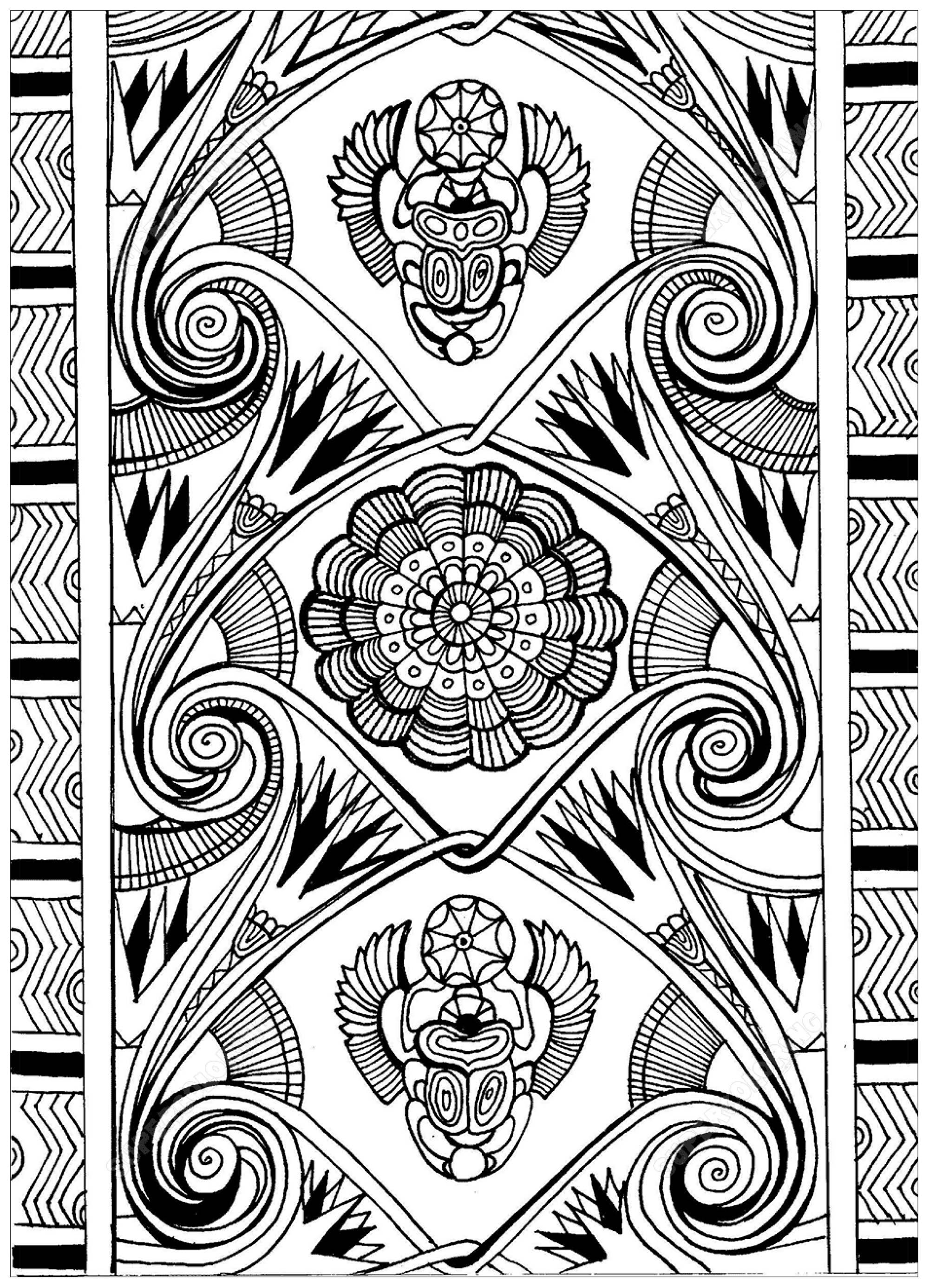 Disegni da colorare per adulti : Egitto & Geroglifici - 8