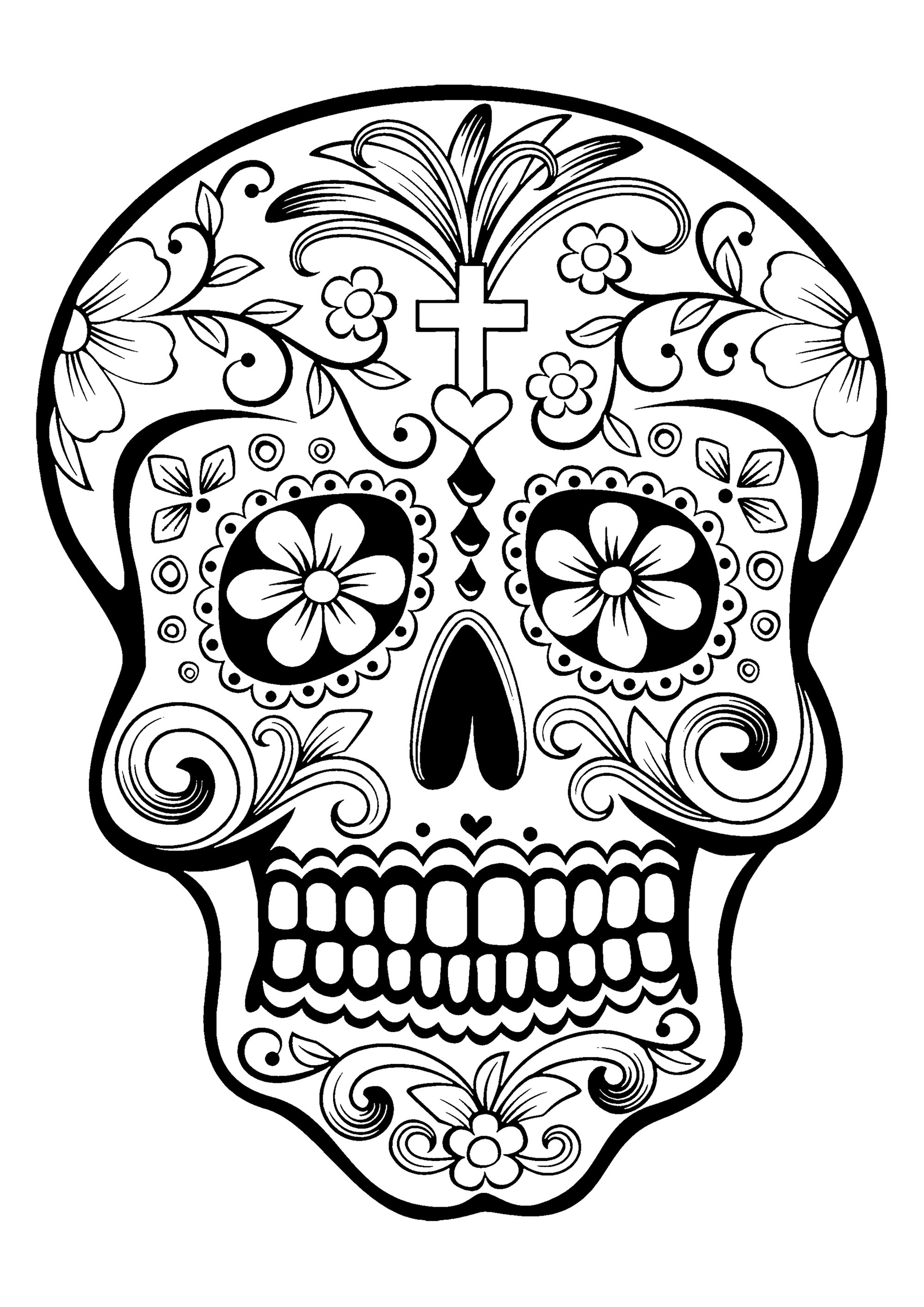 Disegni da colorare per adulti : El Dia De Los Muertos - 1