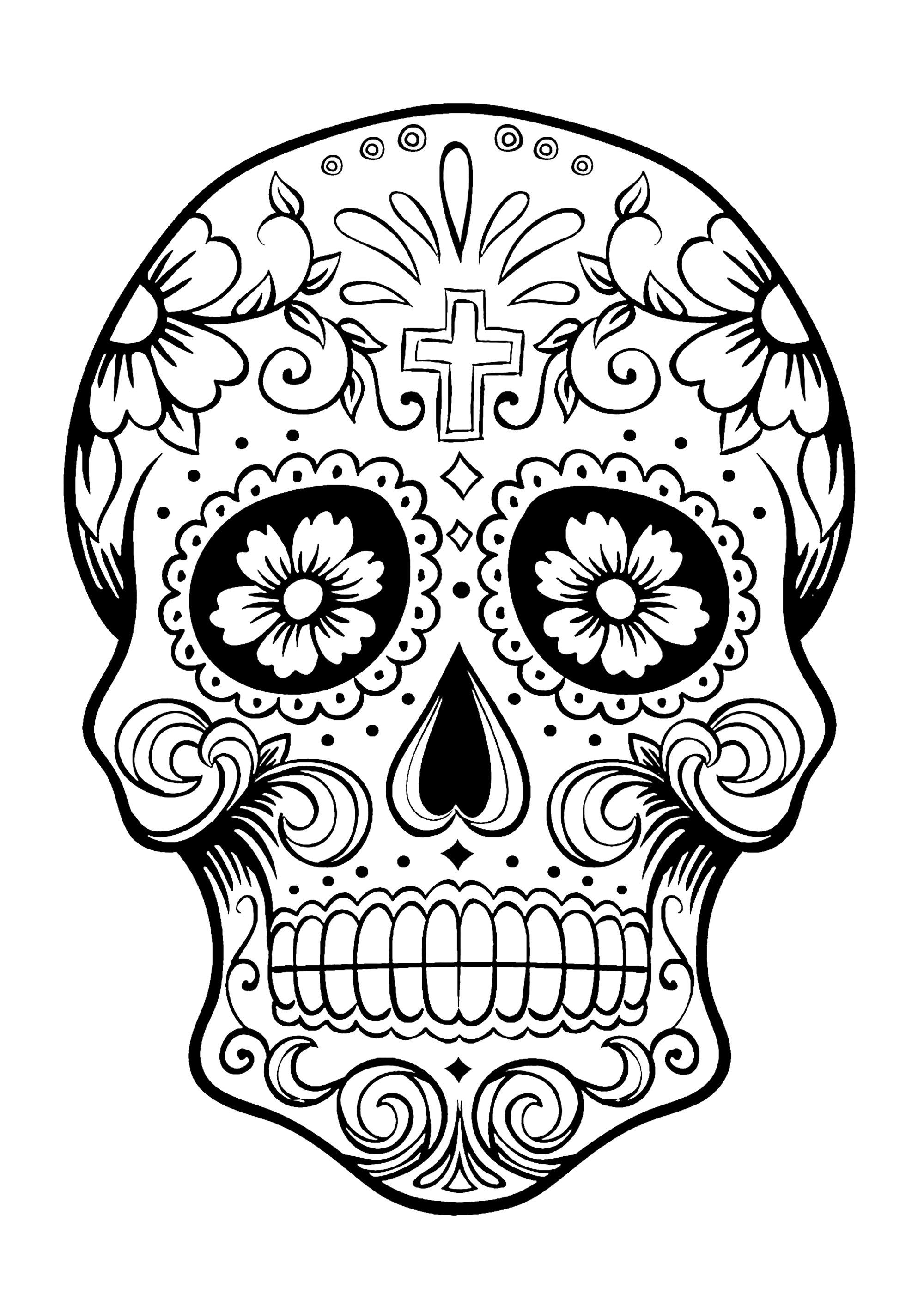 Disegni da colorare per adulti : El Dia De Los Muertos - 3
