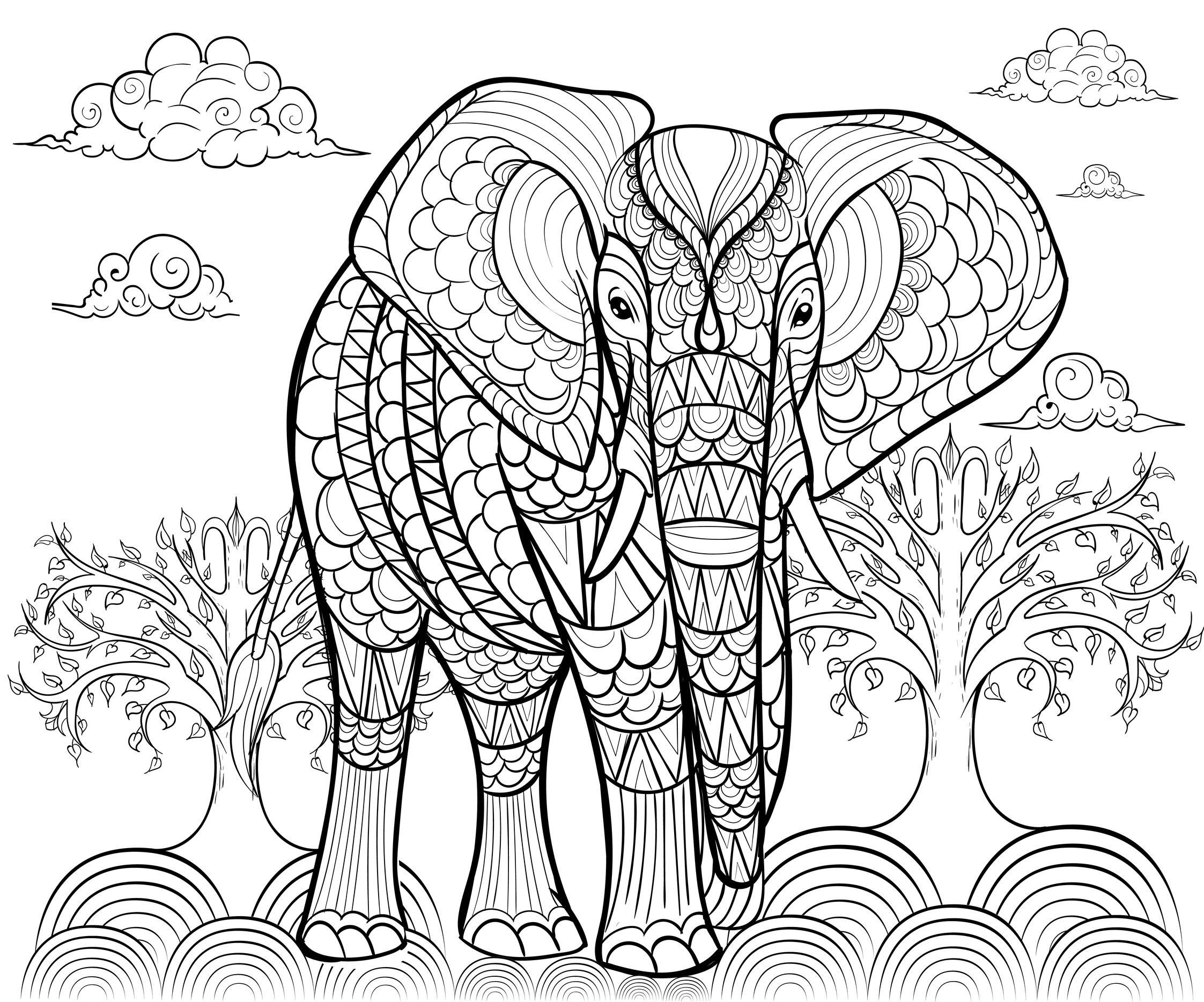 Disegni da colorare per adulti : Elefanti - 7