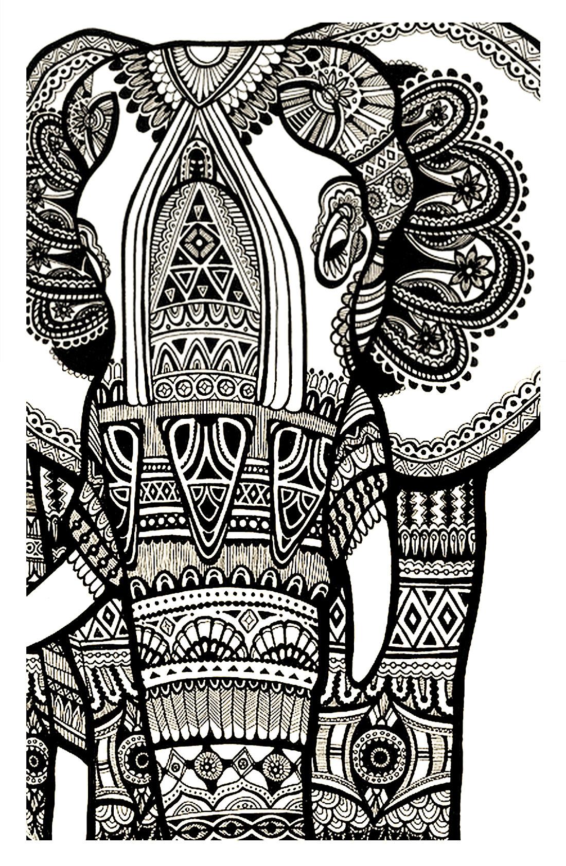 Disegni da colorare per adulti : Elefanti - 3