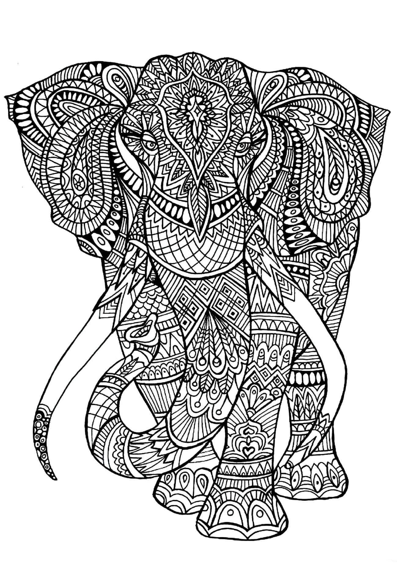 Disegni da colorare per adulti : Elefanti - 4