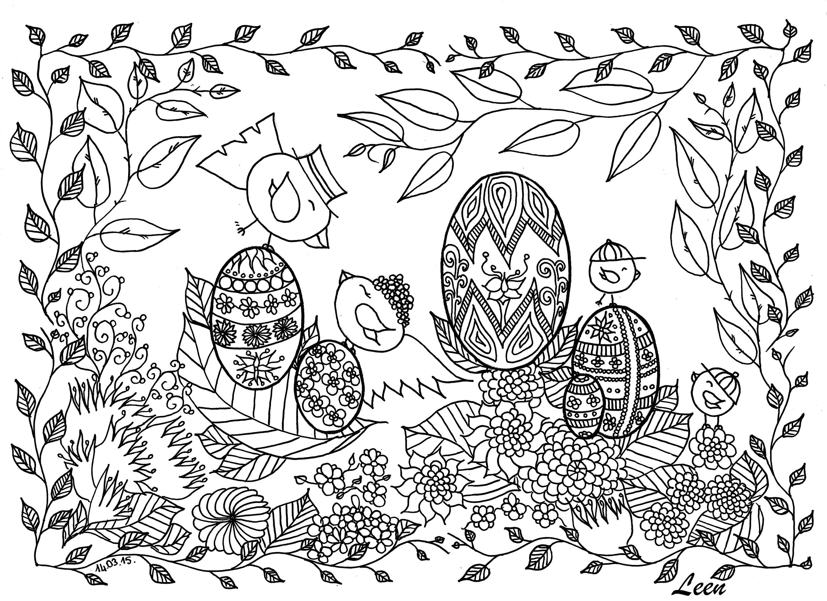Disegni da colorare per adulti : Pasqua - 1
