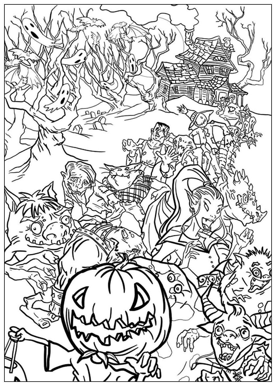 Disegni da colorare per adulti : Halloween - 19