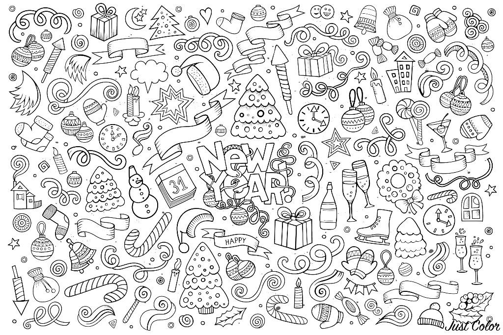 Disegni da colorare per adulti : Felice anno nuovo - 3