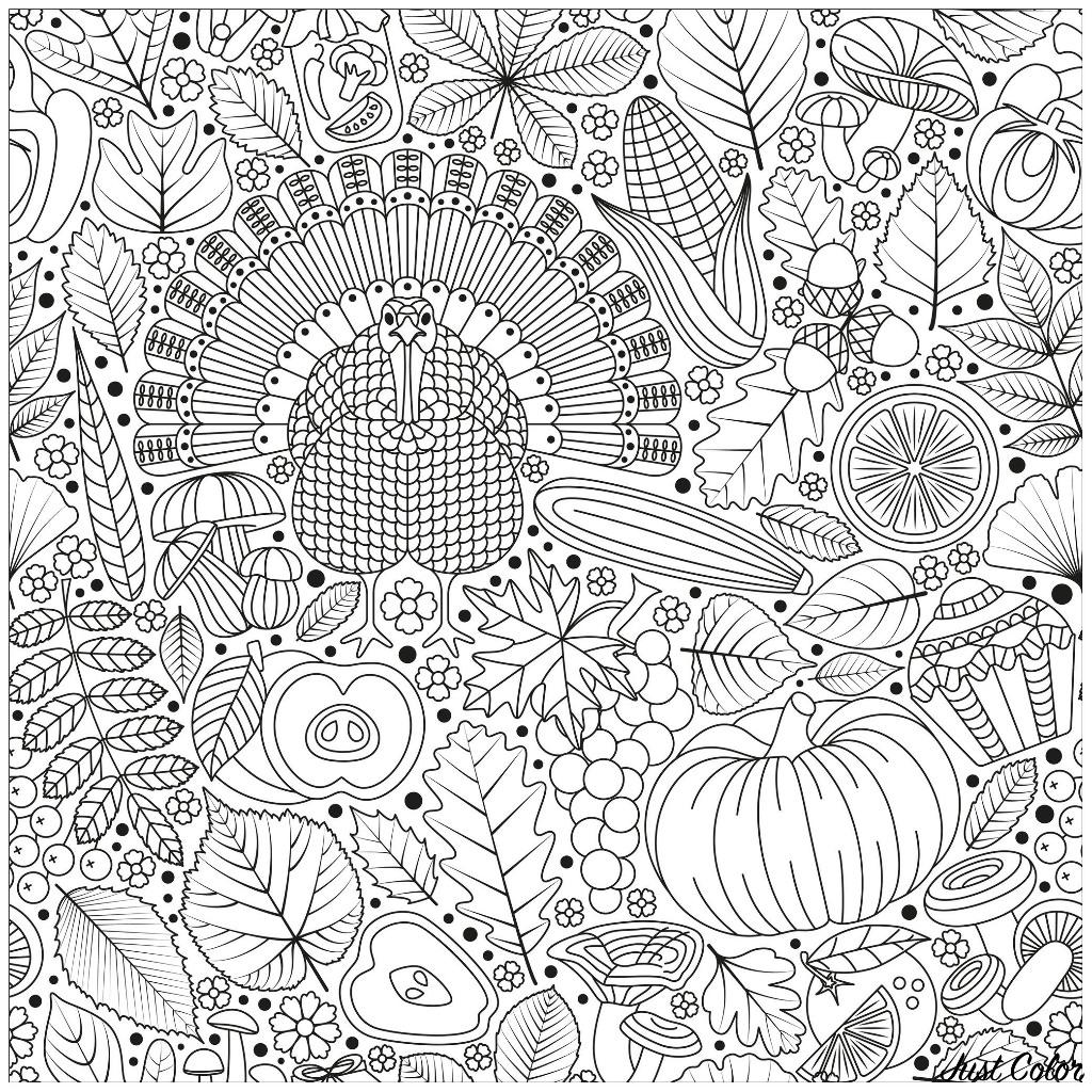 Disegni da Colorare per Adulti : Thanksgiving - 2