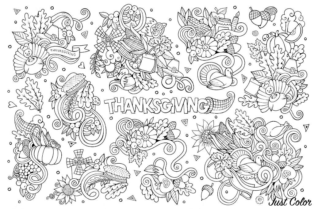 Disegni da colorare per adulti : Thanksgiving - 4