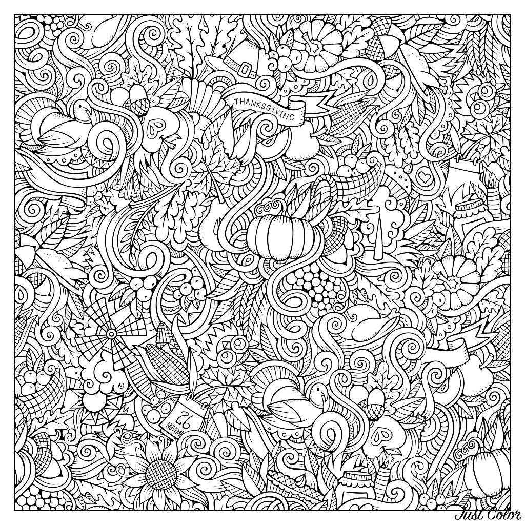 Disegni da colorare per adulti : Thanksgiving - 8