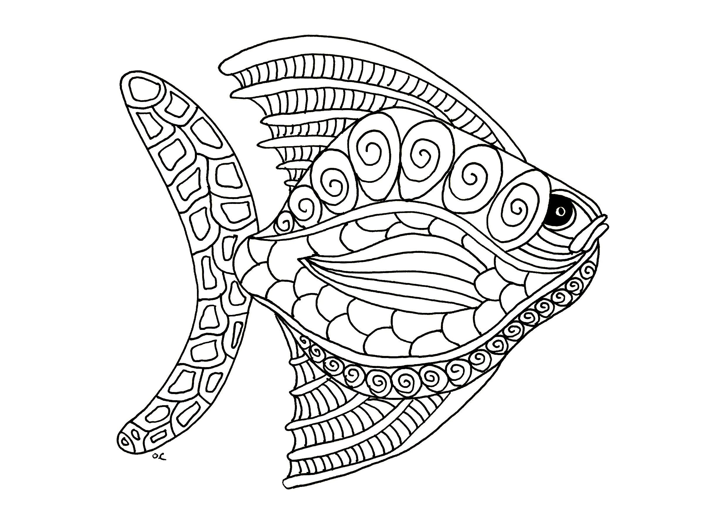 Disegni da colorare per adulti : Pesci - 13