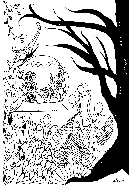 Disegni da colorare per adulti : Fiori e vegetazione - 11