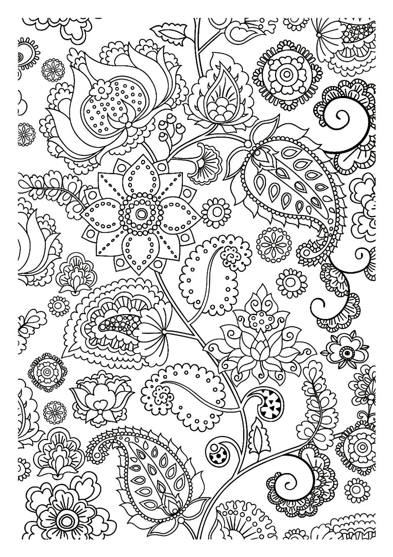 Disegni da colorare per adulti : Fiori e vegetazione - 5