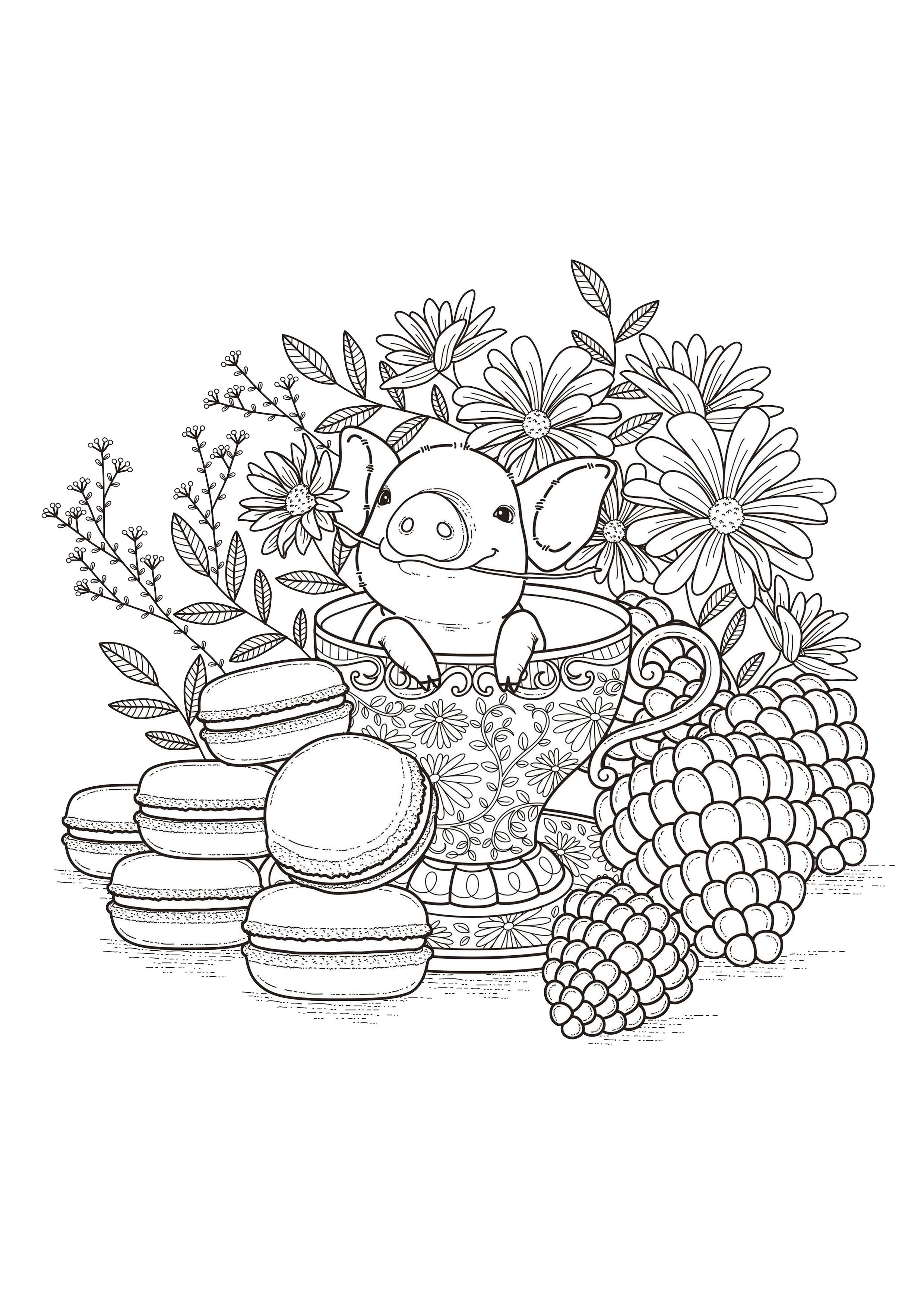 Disegni da colorare per adulti : Fiori e vegetazione - 60