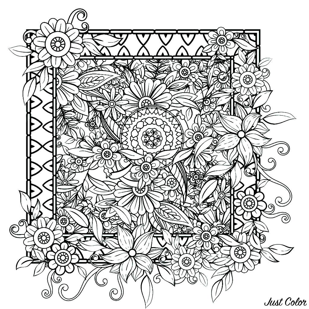 Disegni da Colorare per Adulti : Fiori e vegetazione - 3