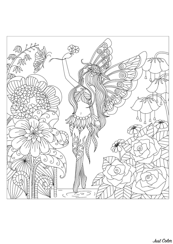 Disegni da colorare per adulti : Fiori e vegetazione - 76