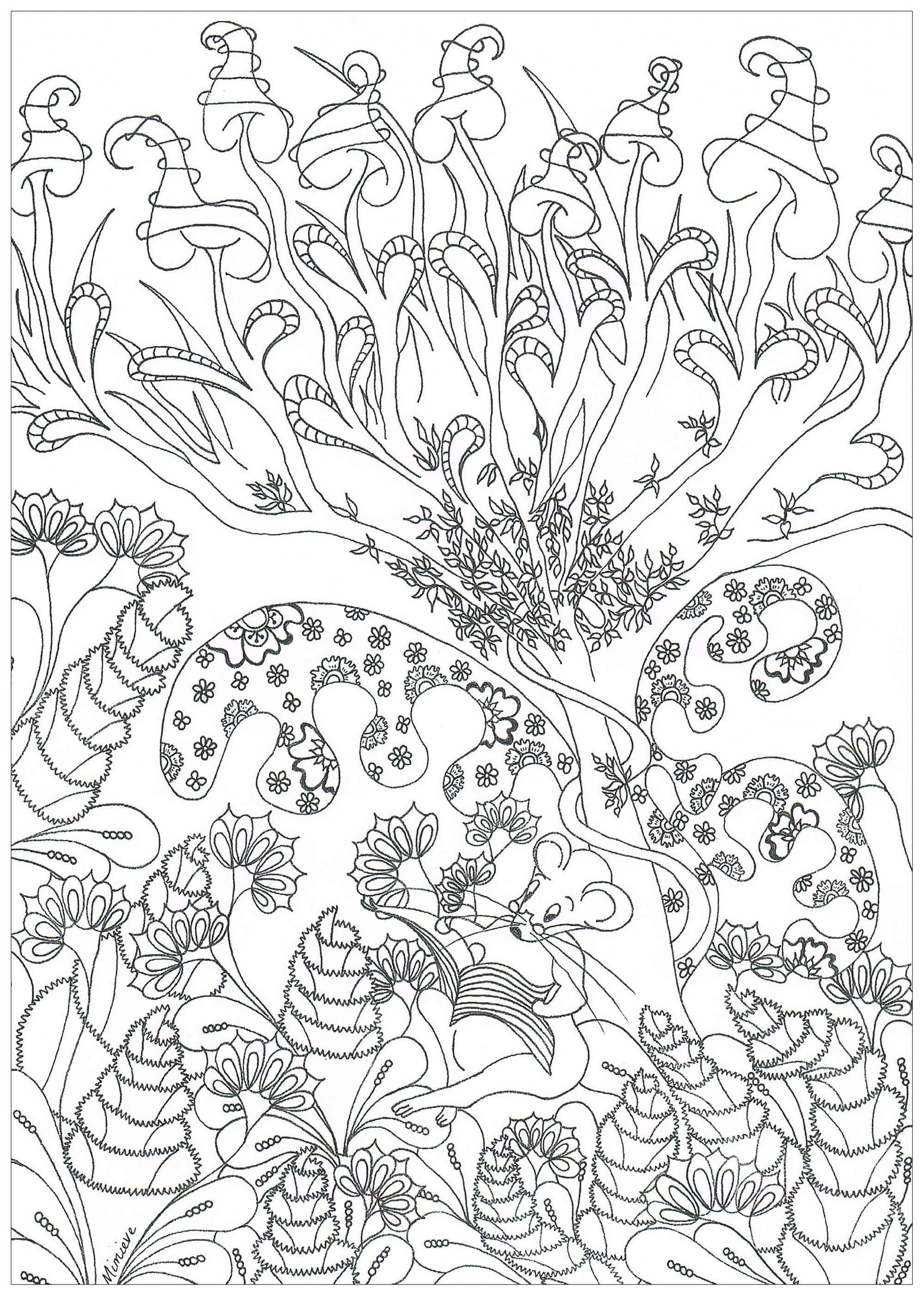 Disegni da colorare per adulti : Giungla e foresta - 1