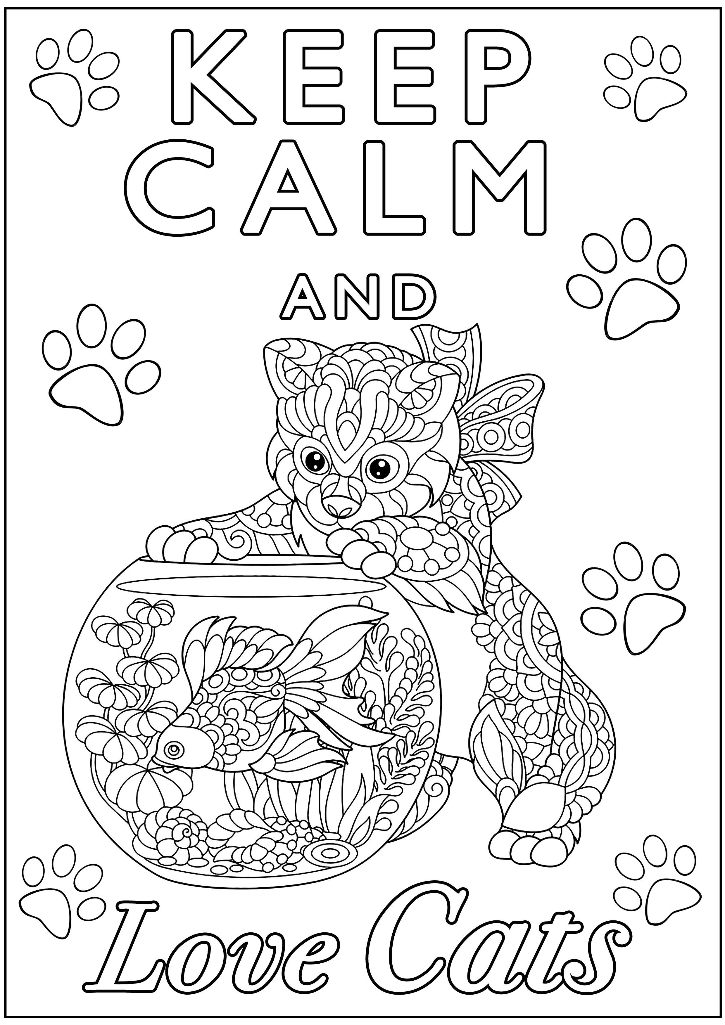 Disegni da Colorare per Adulti : Keep Calm - 1