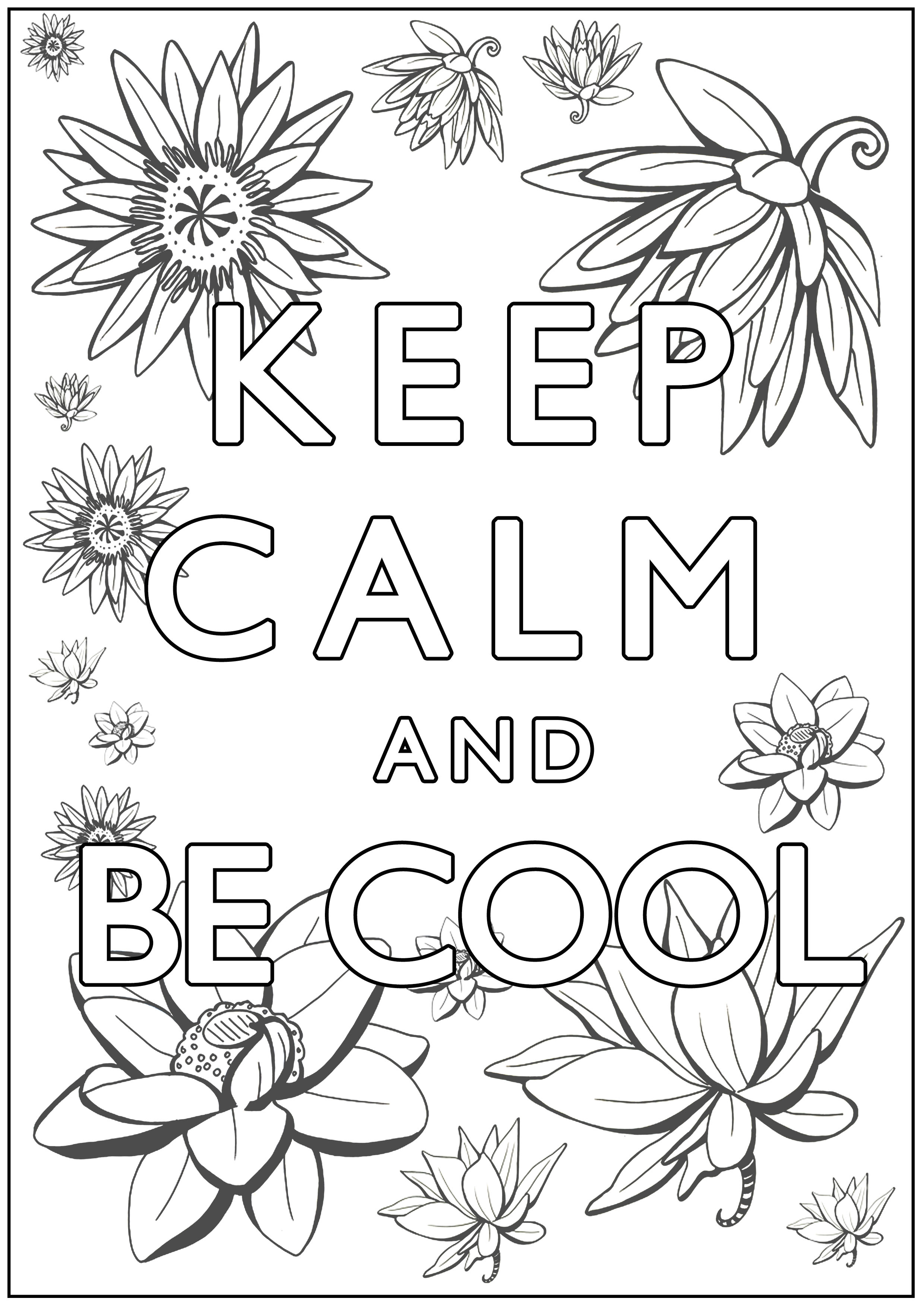 Disegni da Colorare per Adulti : Keep Calm - 5