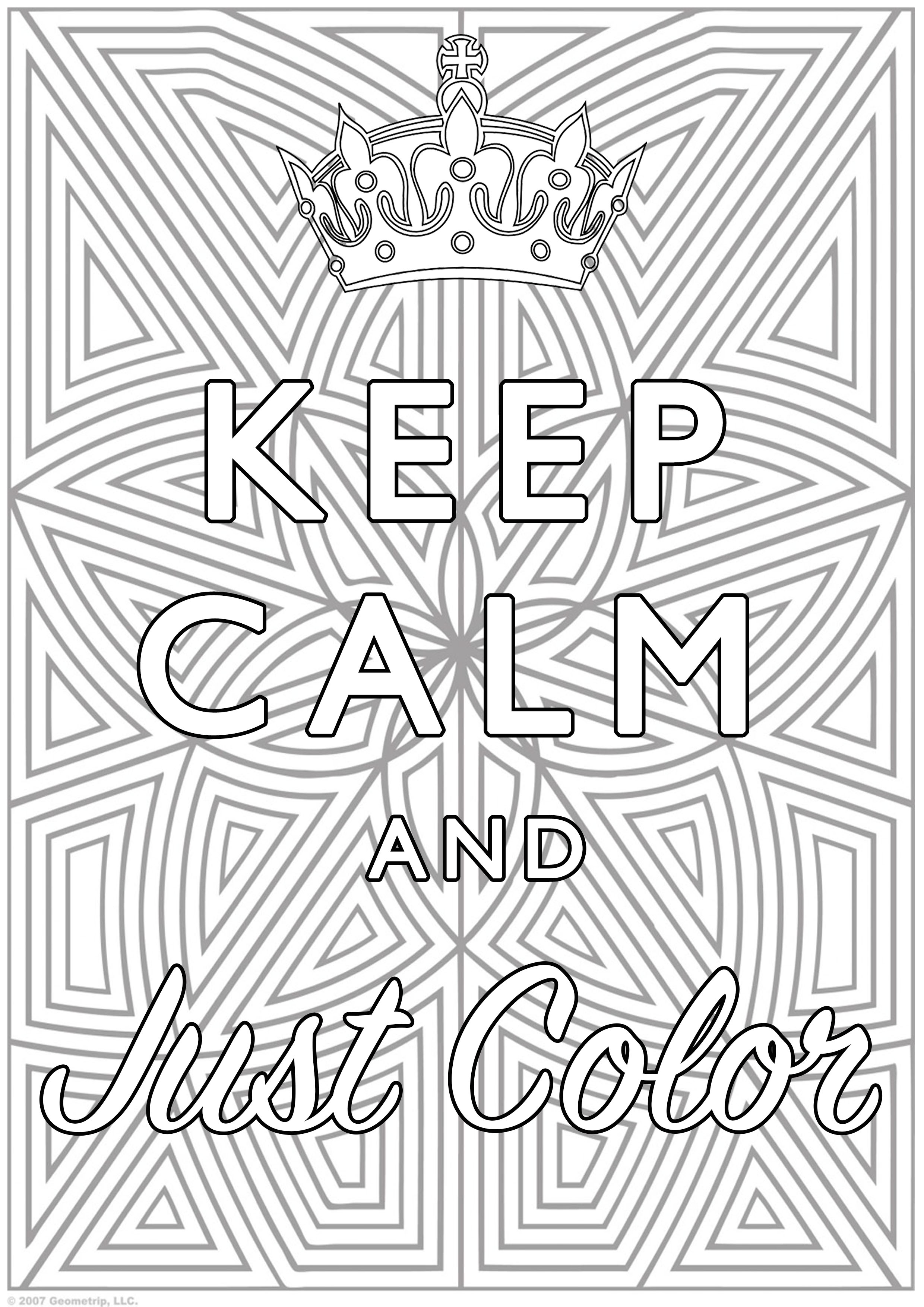 Disegni da Colorare per Adulti : Keep Calm - 10
