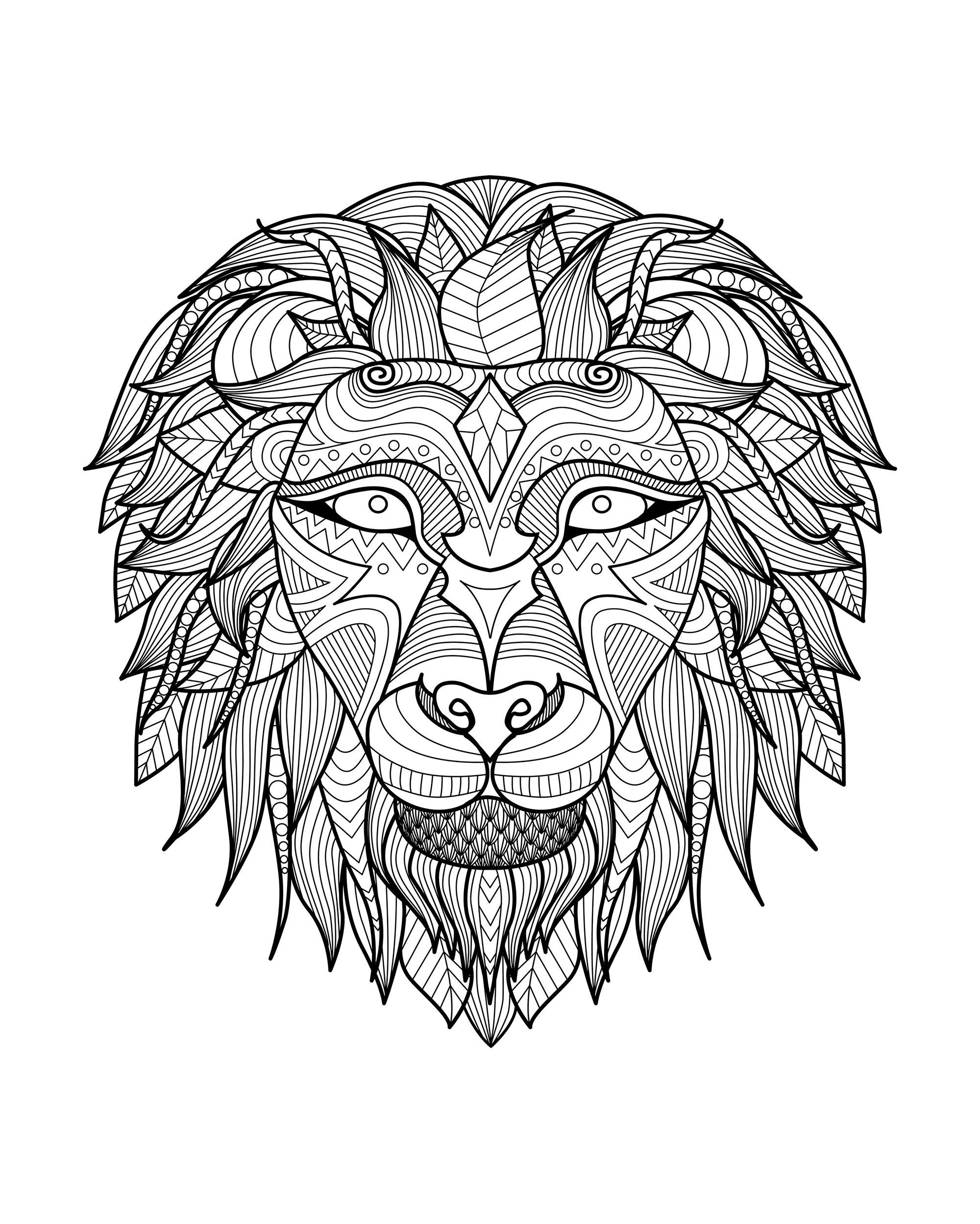 Disegni da colorare per adulti : Lions - 8