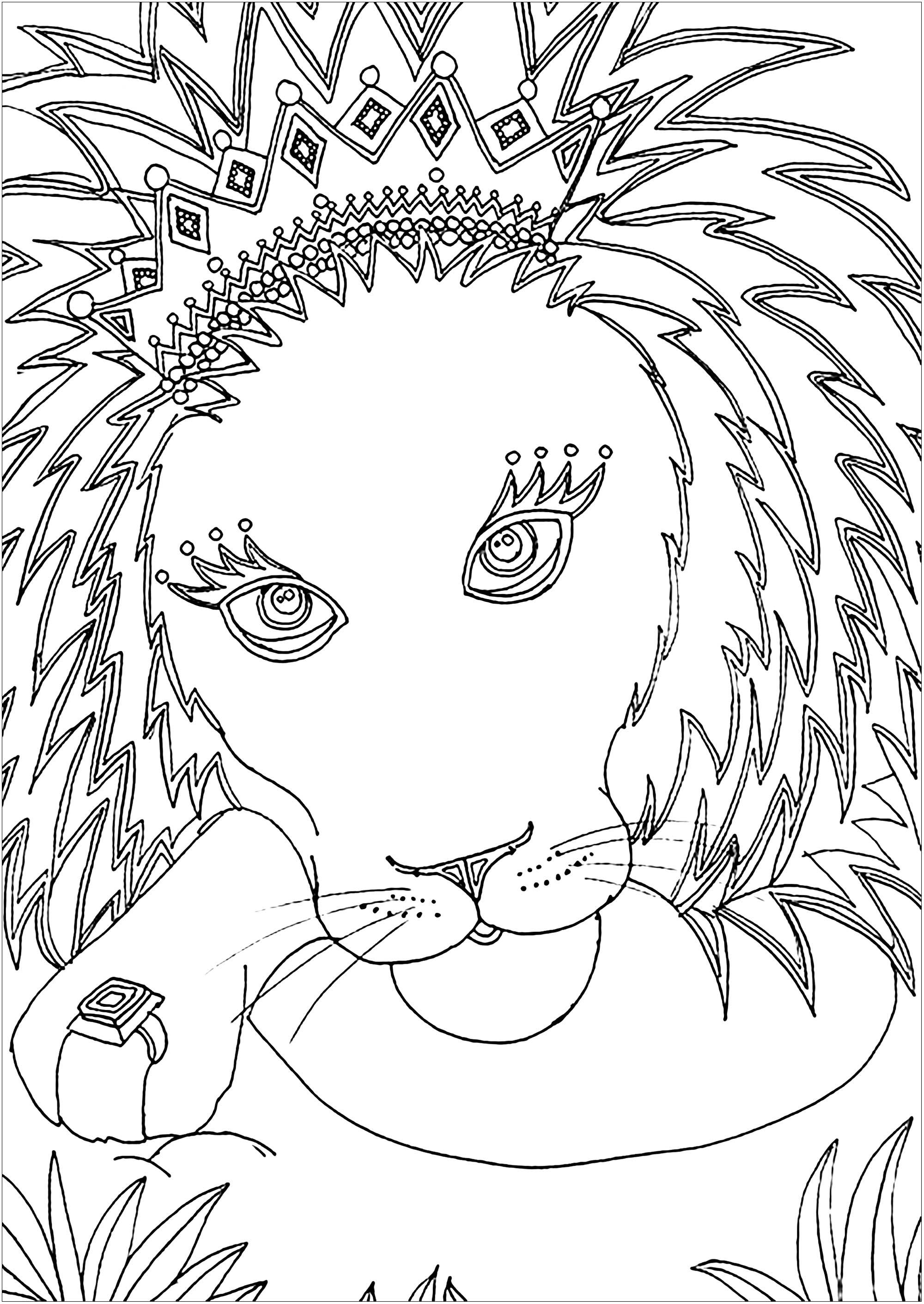 Disegni da Colorare per Adulti : Lions - 1