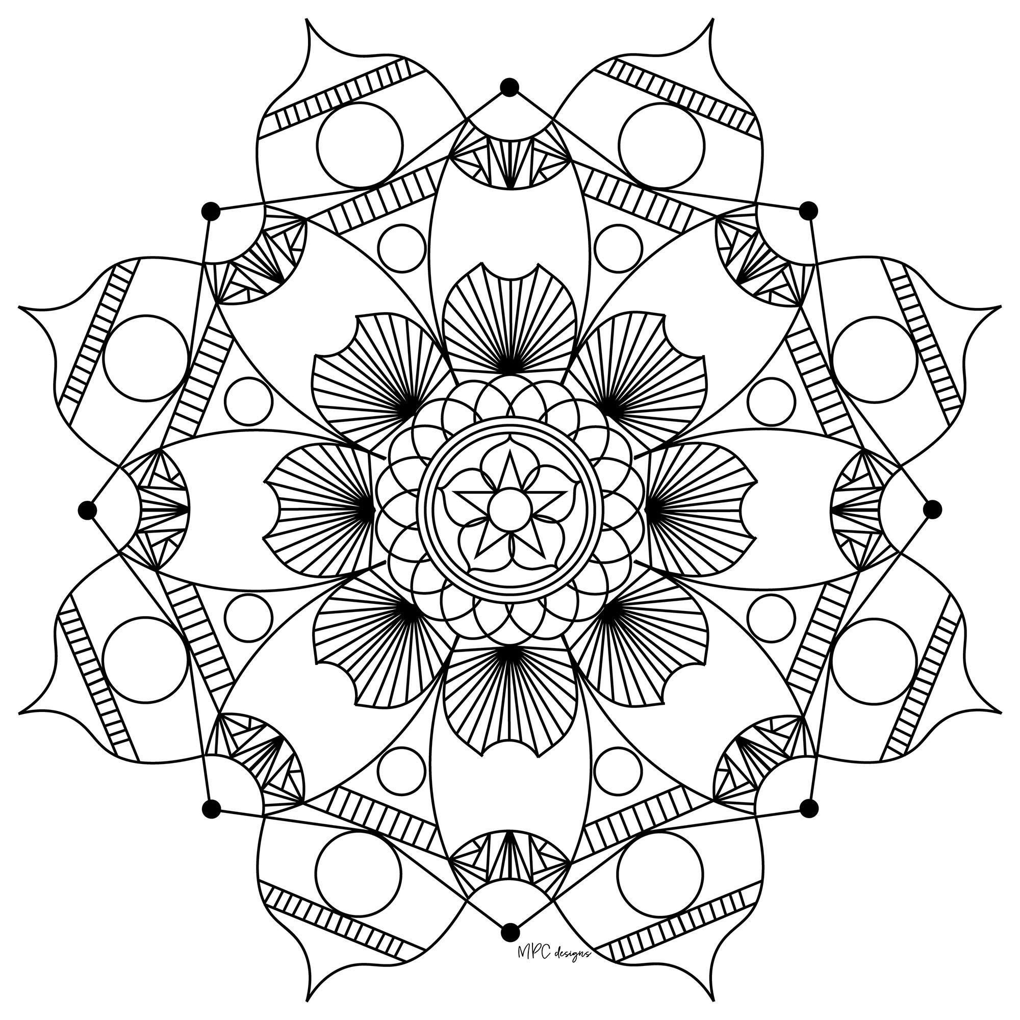 Disegni da colorare per adulti : Mandalas - 201