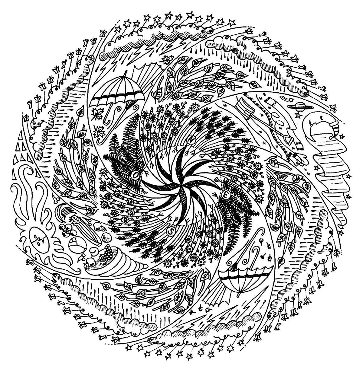 Mandalas disegni da colorare per adulti - Mandala difficile a imprimer ...