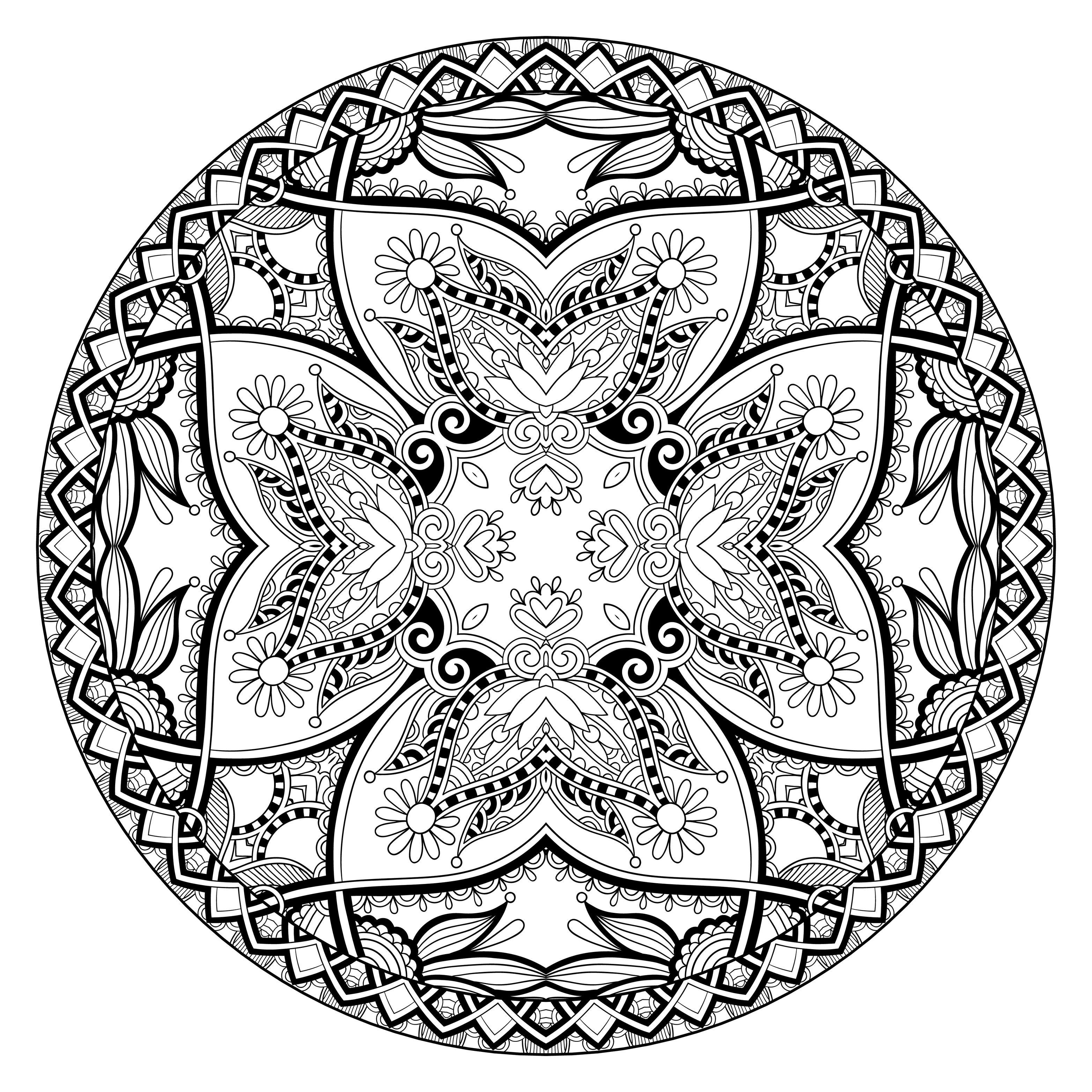Disegni da colorare per adulti : Mandalas - 77