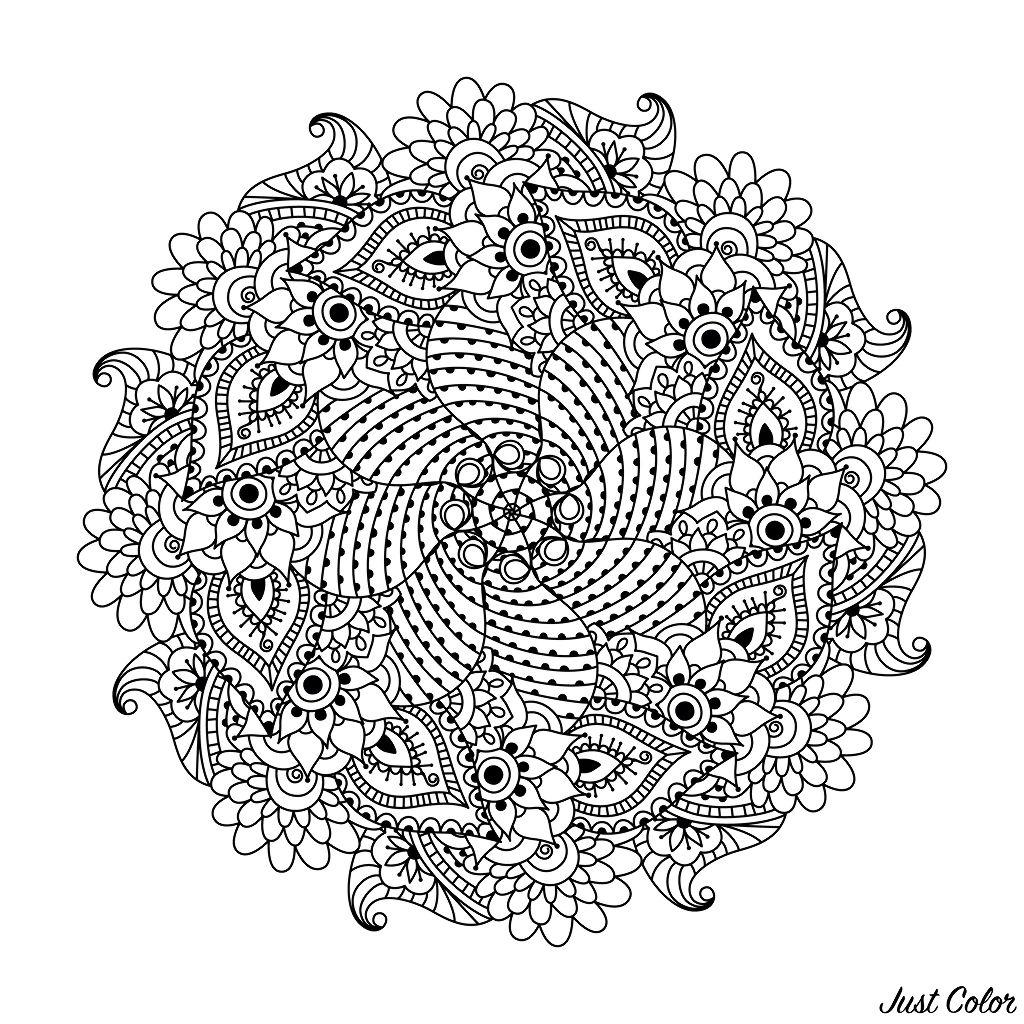 Disegni da colorare per adulti : Mandalas - 108