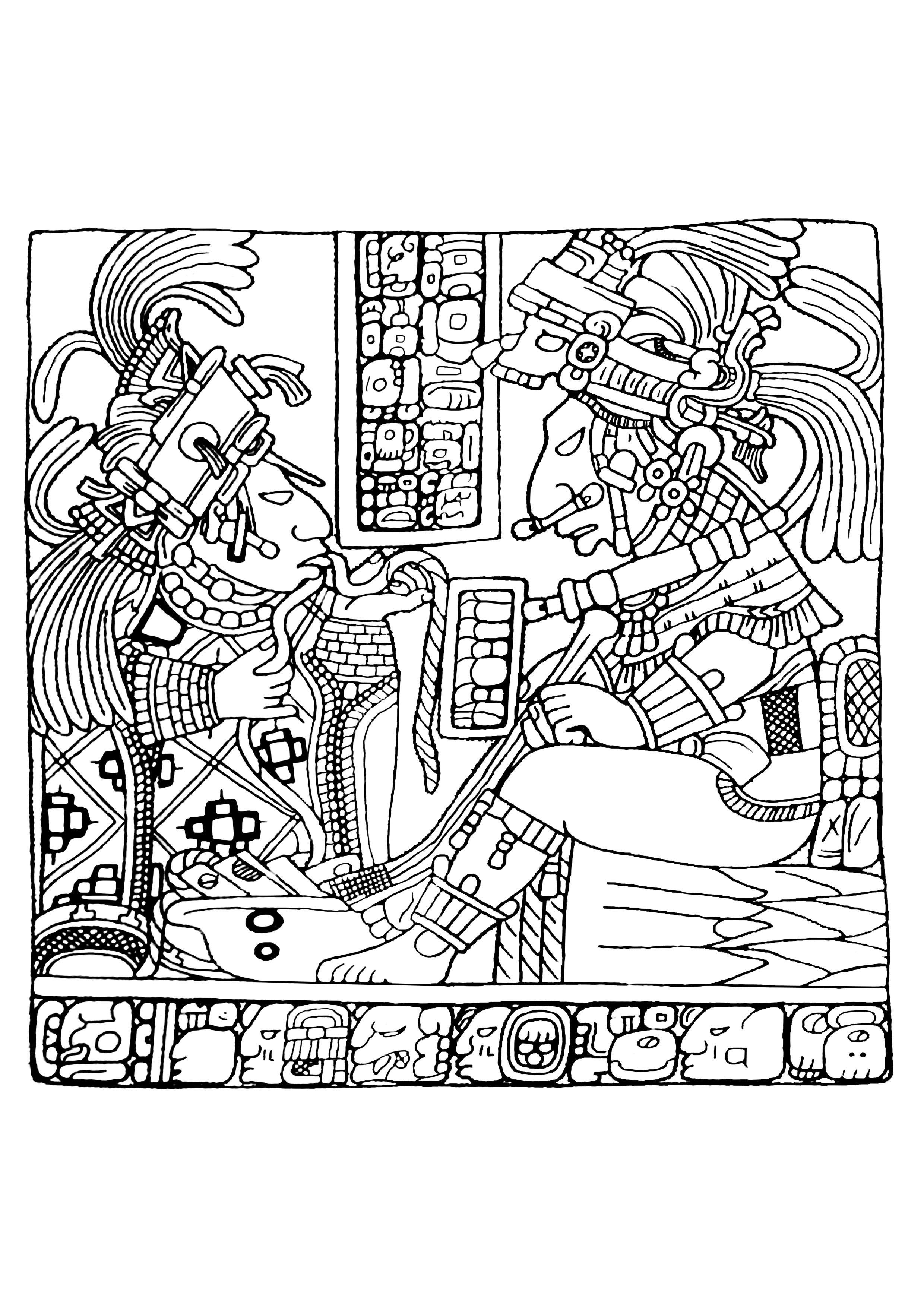 Disegni da colorare per adulti : Maya, Aztechi e Incas - 30