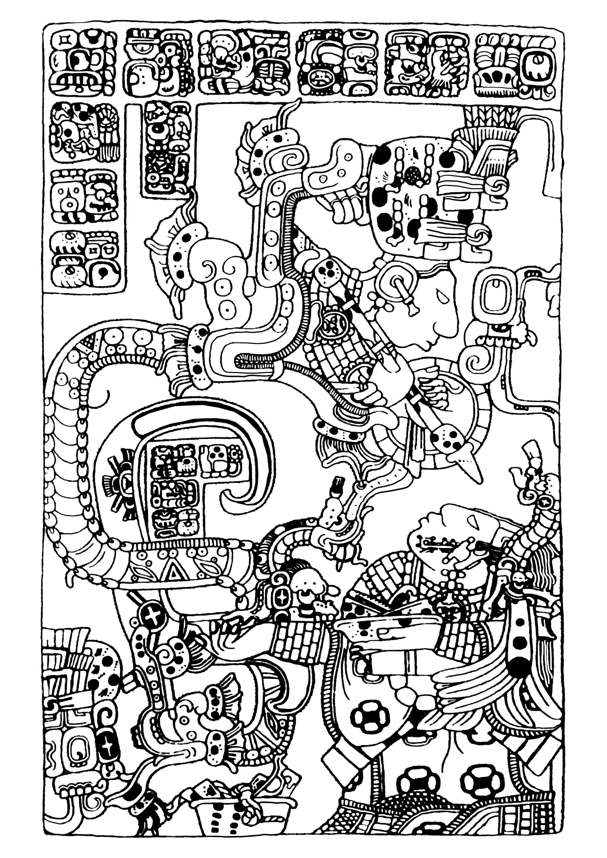 Disegni da colorare per adulti : Maya, Aztechi e Incas - 29