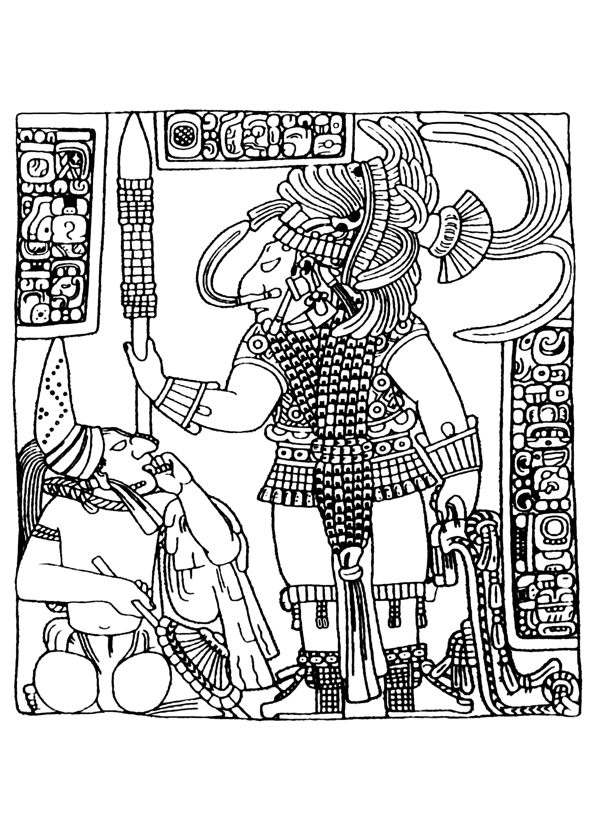 Disegni da colorare per adulti : Maya, Aztechi e Incas - 24