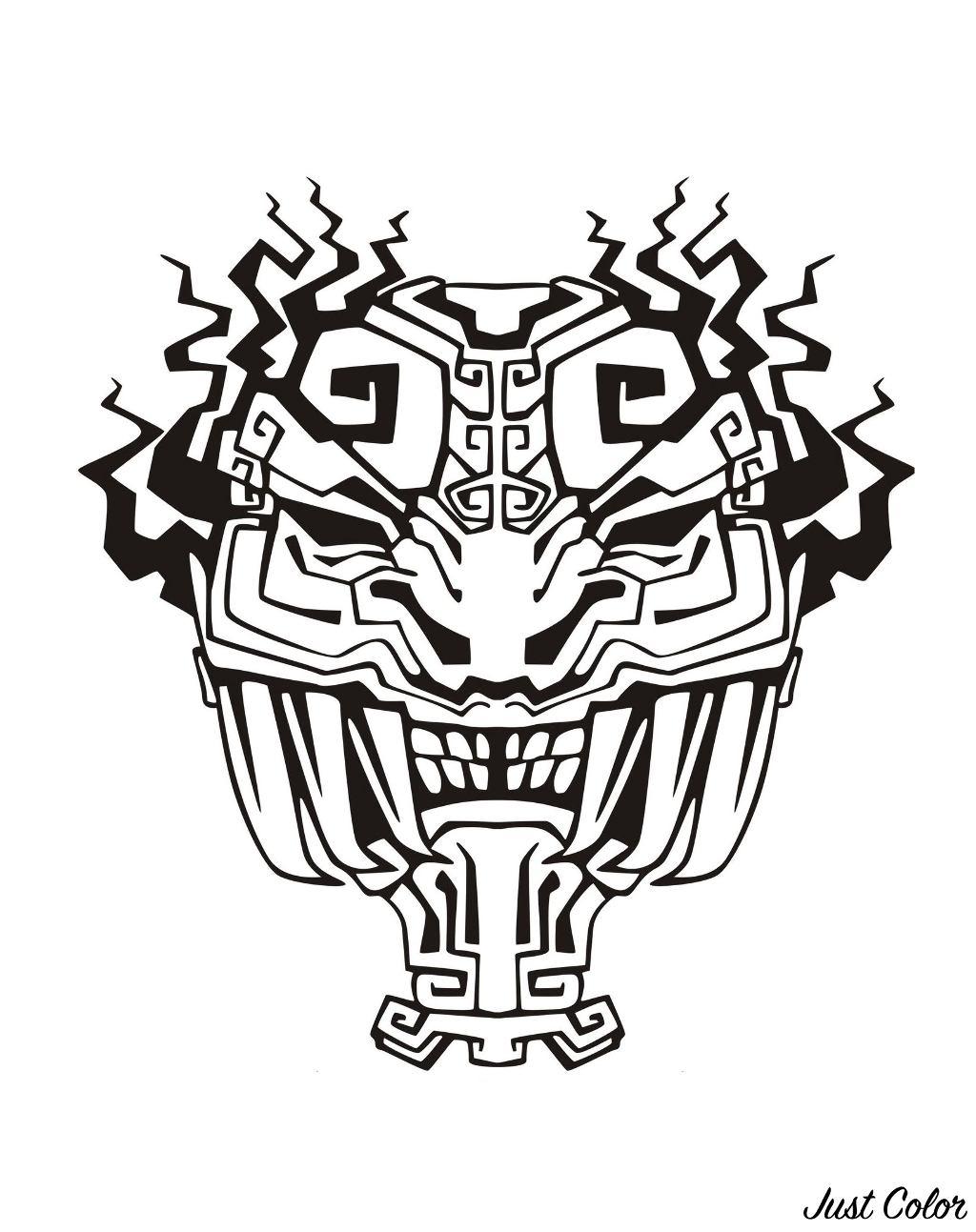 Disegni da colorare per adulti : Maya, Aztechi e Incas - 4