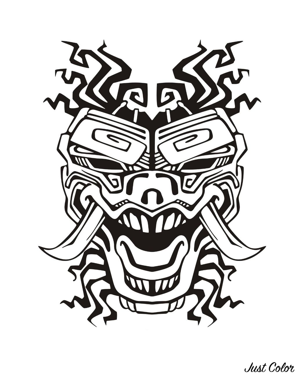 Disegni da colorare per adulti : Maya, Aztechi e Incas - 16